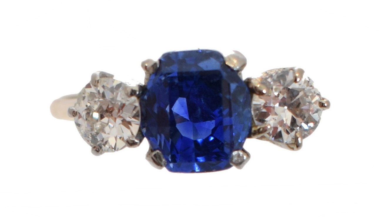 Sri Lankan Sapphire and Diamond Ring