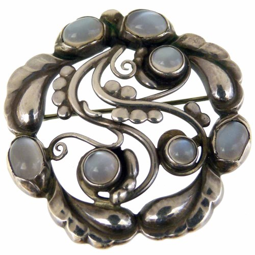 Georg Jensen moonlight silver brooch, pattern 159