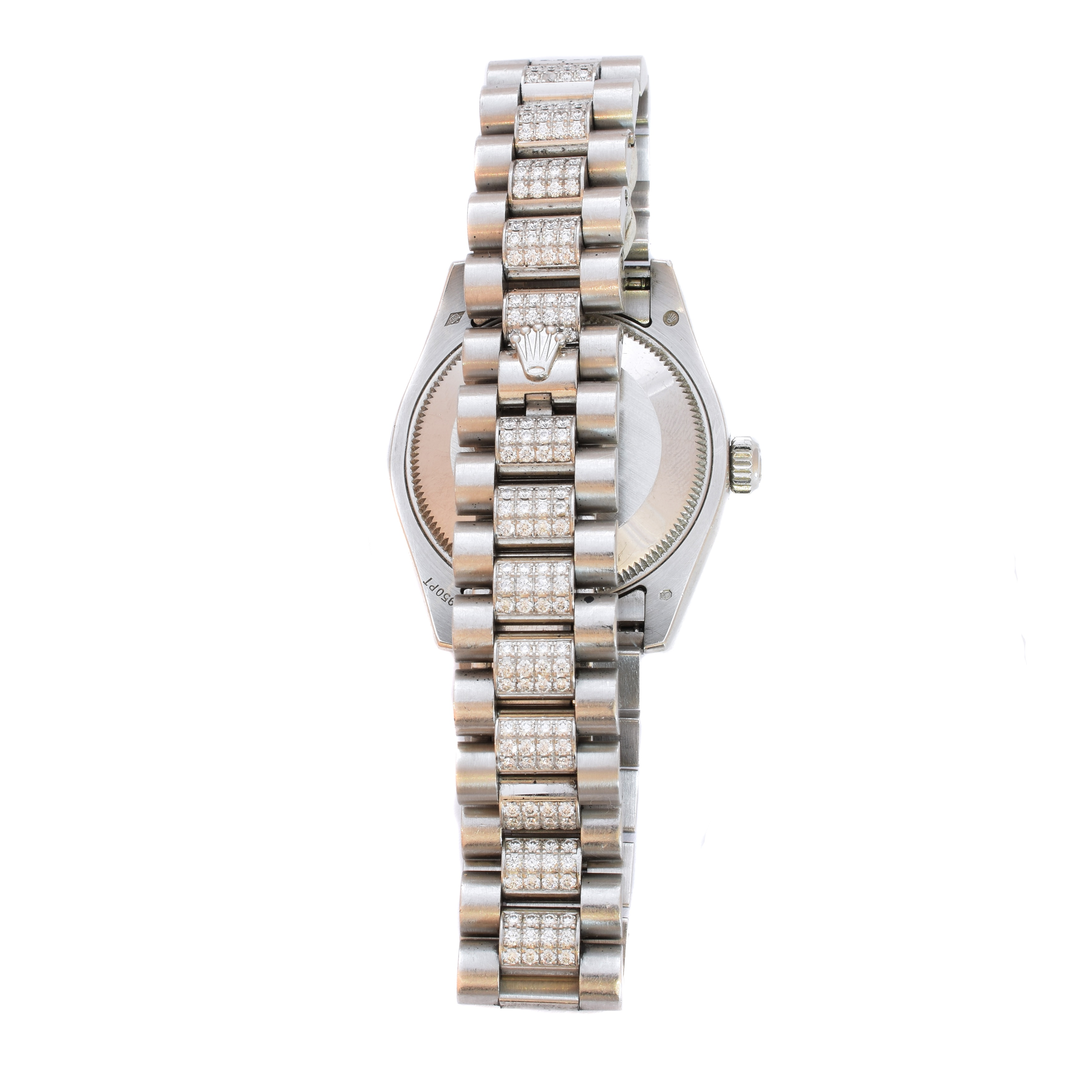 Ladies Mid Size Platinum Diamond Date Just Rolex Reverse