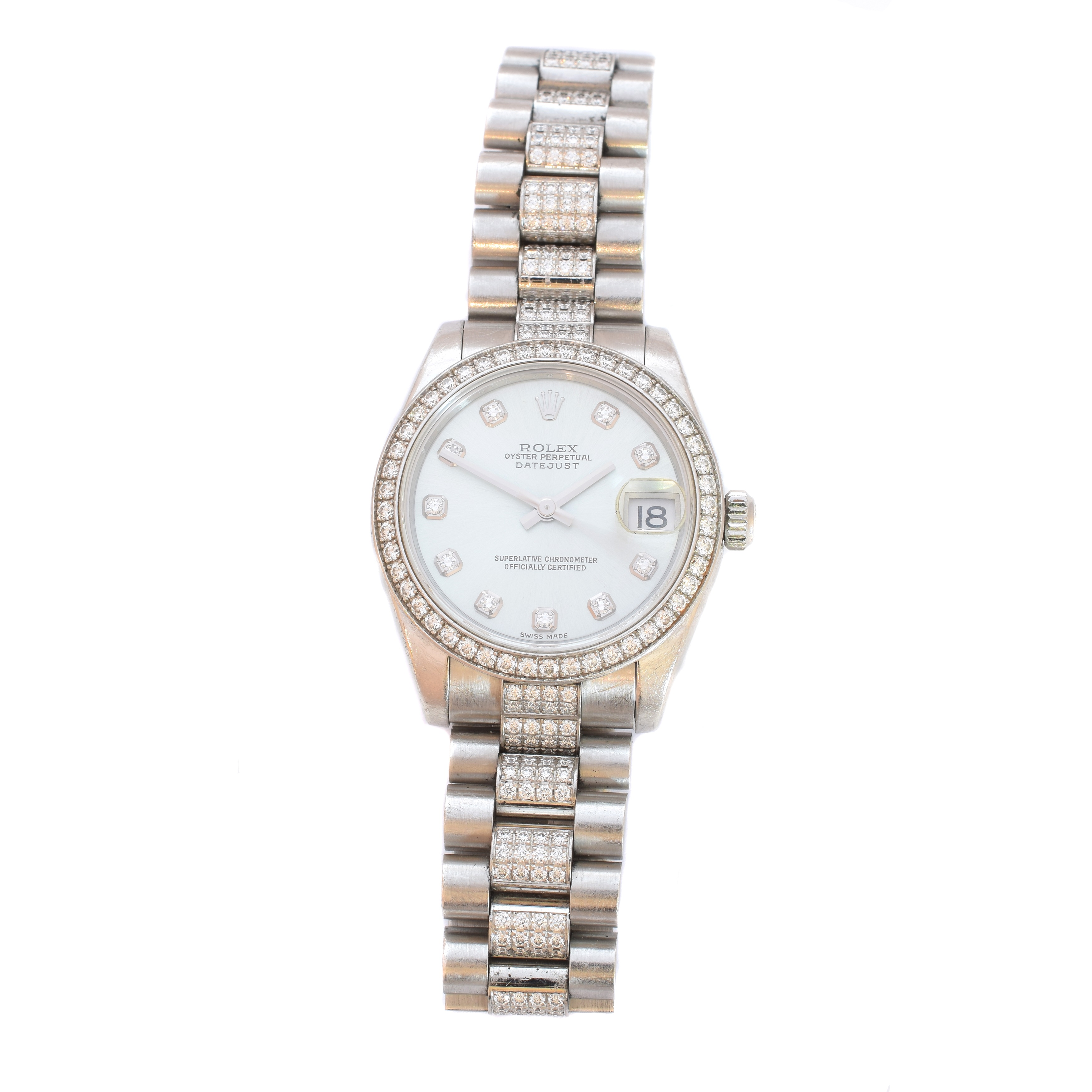 Ladies Mid Size Platinum Diamond Date Just Rolex