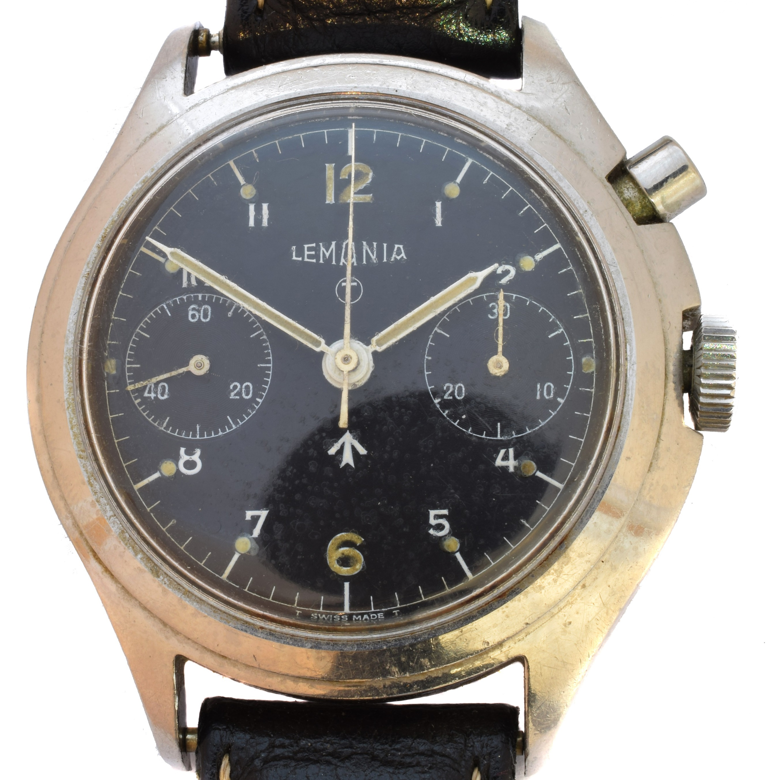 A rare 1960s Lemania stainless steel military single button chronograph wristwatch, the signed circular black dial with military arrow, white Arabic hour markers, luminescent tritium 12, 6 and dot hour markers, double register recording minutes & continuous seconds, within an asymmetric Acier steel case, 2220 calibre 35-67, 17 jewel movement signed and numbered Lemania Watch Co 1975035, case back numbered AF 9615, with later black leather strap, case diameter 40mm.