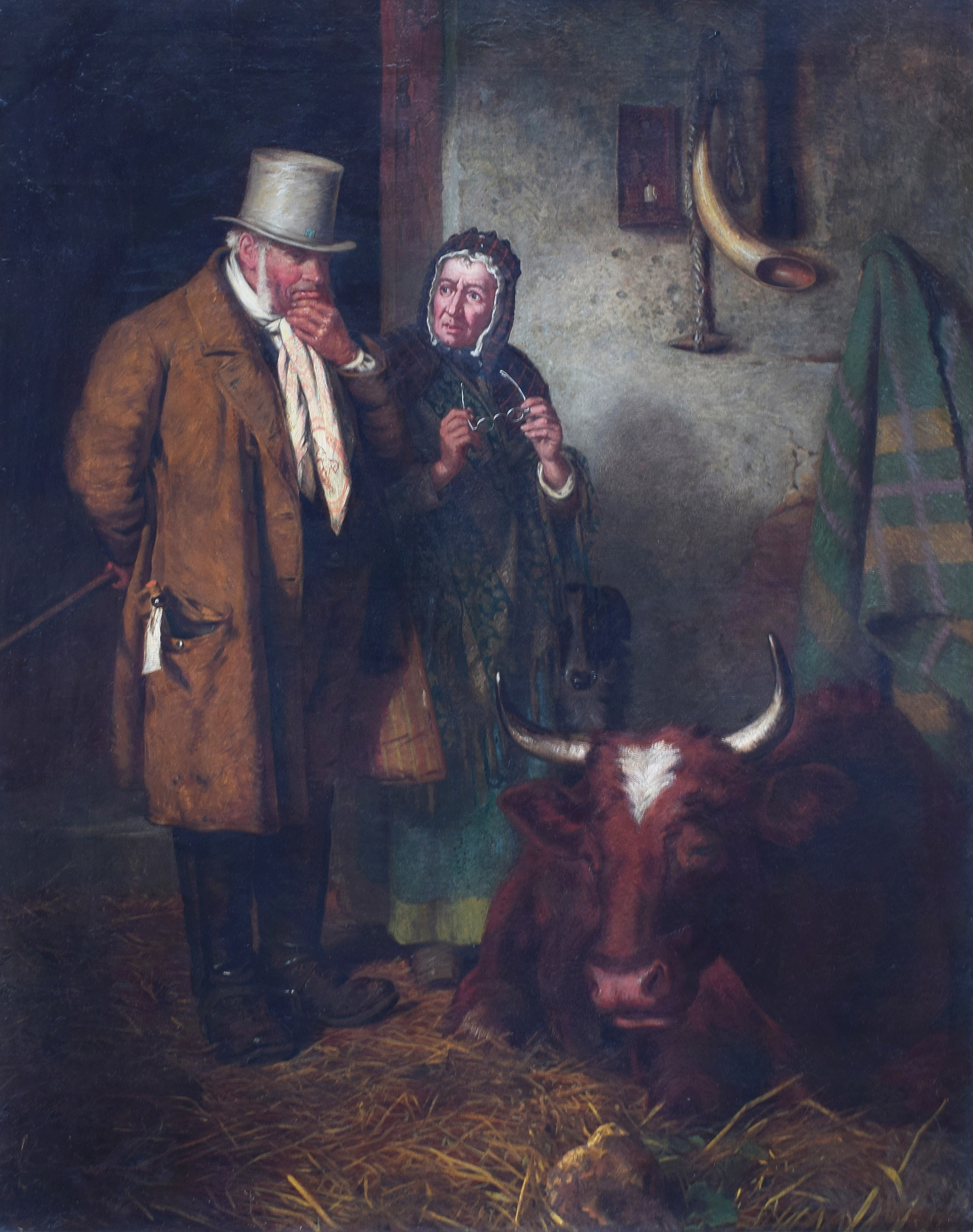 "Henry Hetherington Emmerson (1831-1895), ""The Cow Doctor"", signed and dated 1871, titled on artist's label verso, oil on canvas, 150.5 x 120cm, 59.25 x 47.25in."