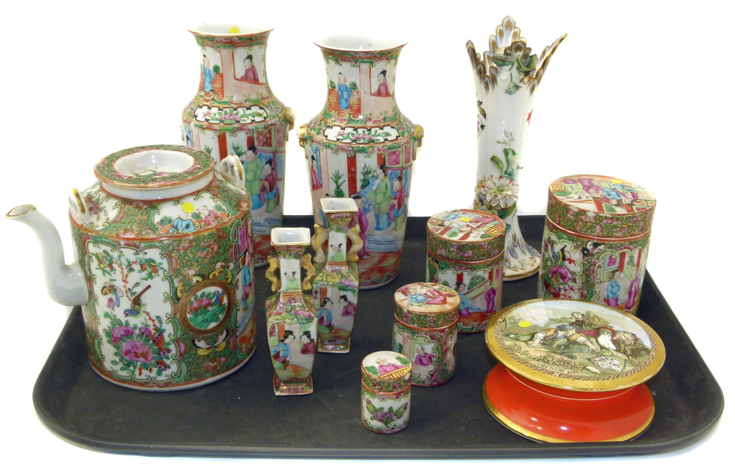 Nine pieces of Chinese porcelain decorated in a Cantonese Palette also a Pratt pot and base and a spill vase