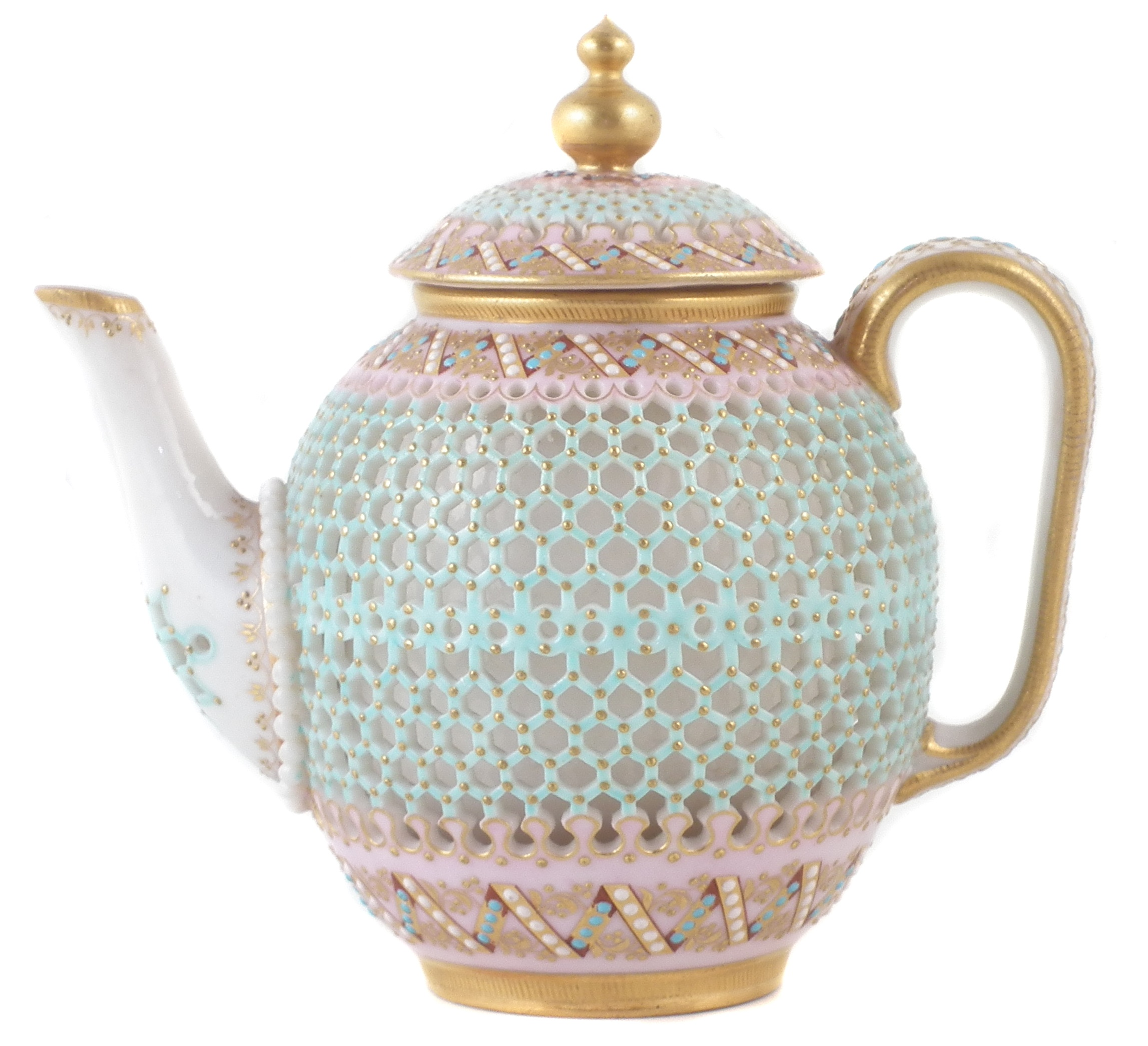Royal Worcester reticulated teapot and cover by George Owen, the hexagonal cut body applied with turquoise, white and gilt jewels, late 19th century,12.5cm high