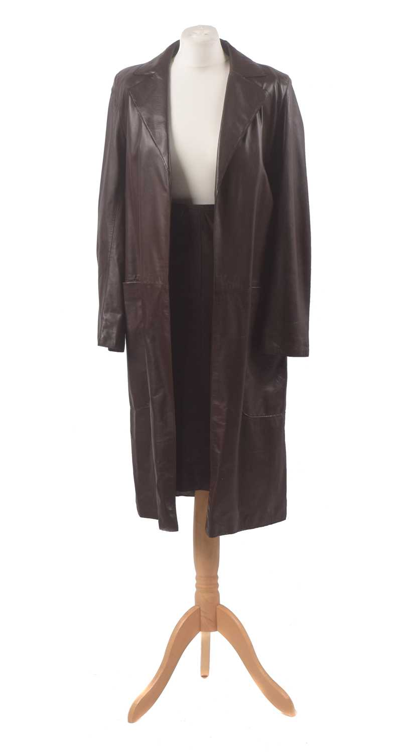 A leather coat and skirt by Mulberry, the brown mid length leather coat with accompanying leather skirt, size 8-12 (2).
