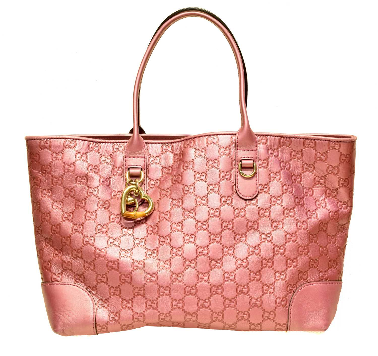 A Gucci 'Hearbit' Tote Bag, the metallic pink Guccissima leather exterior with gold tone hardware, bamboo and horsebit detailing, serial no. 269956-520981.