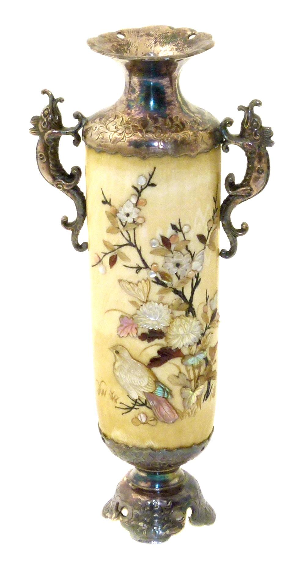 Japanese Meji Period Ivory Silver Shibayama Vase