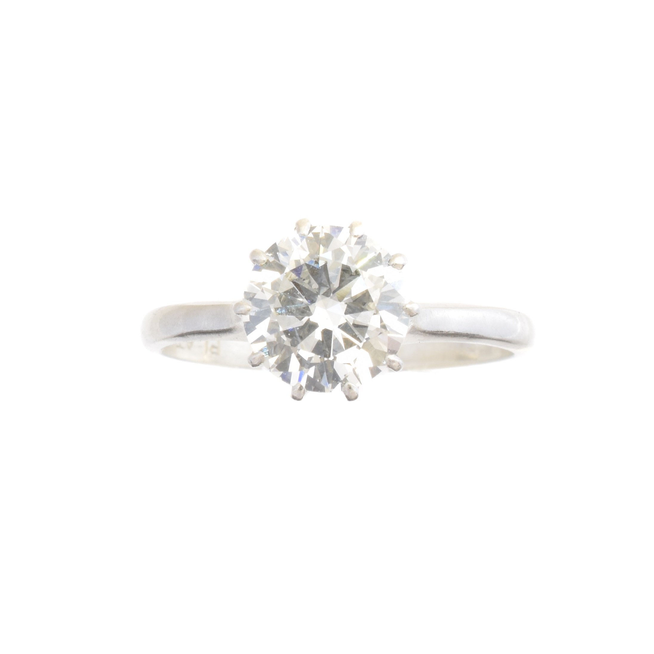A diamond single stone ring, the brilliant cut diamond weighing approx. 1.25cts within a ten claw setting, estimated colour I-J, estimated clarity SI, stamped PLAT, ring size L, gross weight 3.3g.