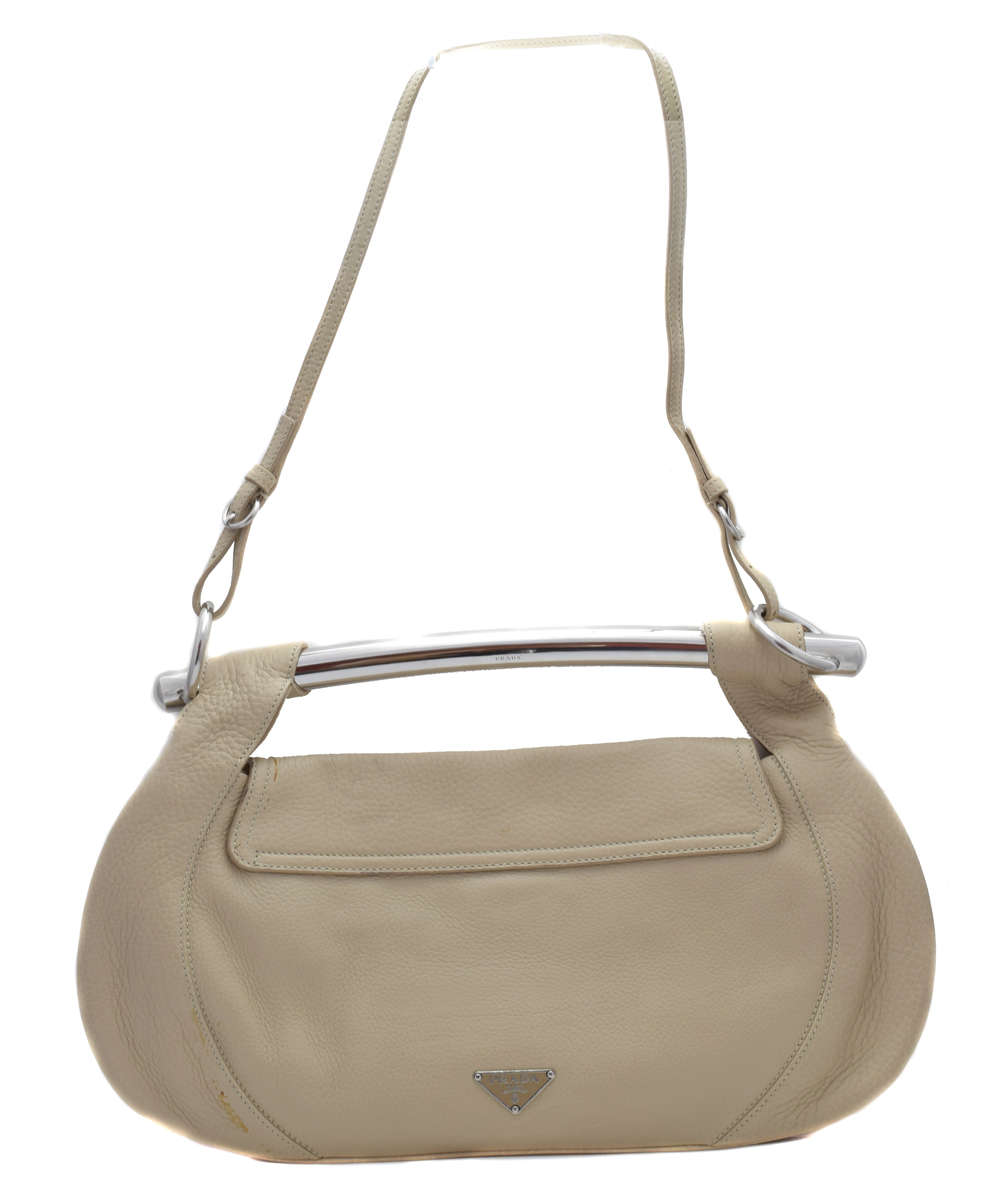 A Prada Bar Handle leather shoulder bag, the taupe grained leather exterior with maker's logo to front, silver-tone curved bar handle, detachable shoulder strap, top flap fastening and maker's monogram canvas interior, dimensions 39.5 x 24.5 x 8.5cm, with maker's authenticity card and dust bag.