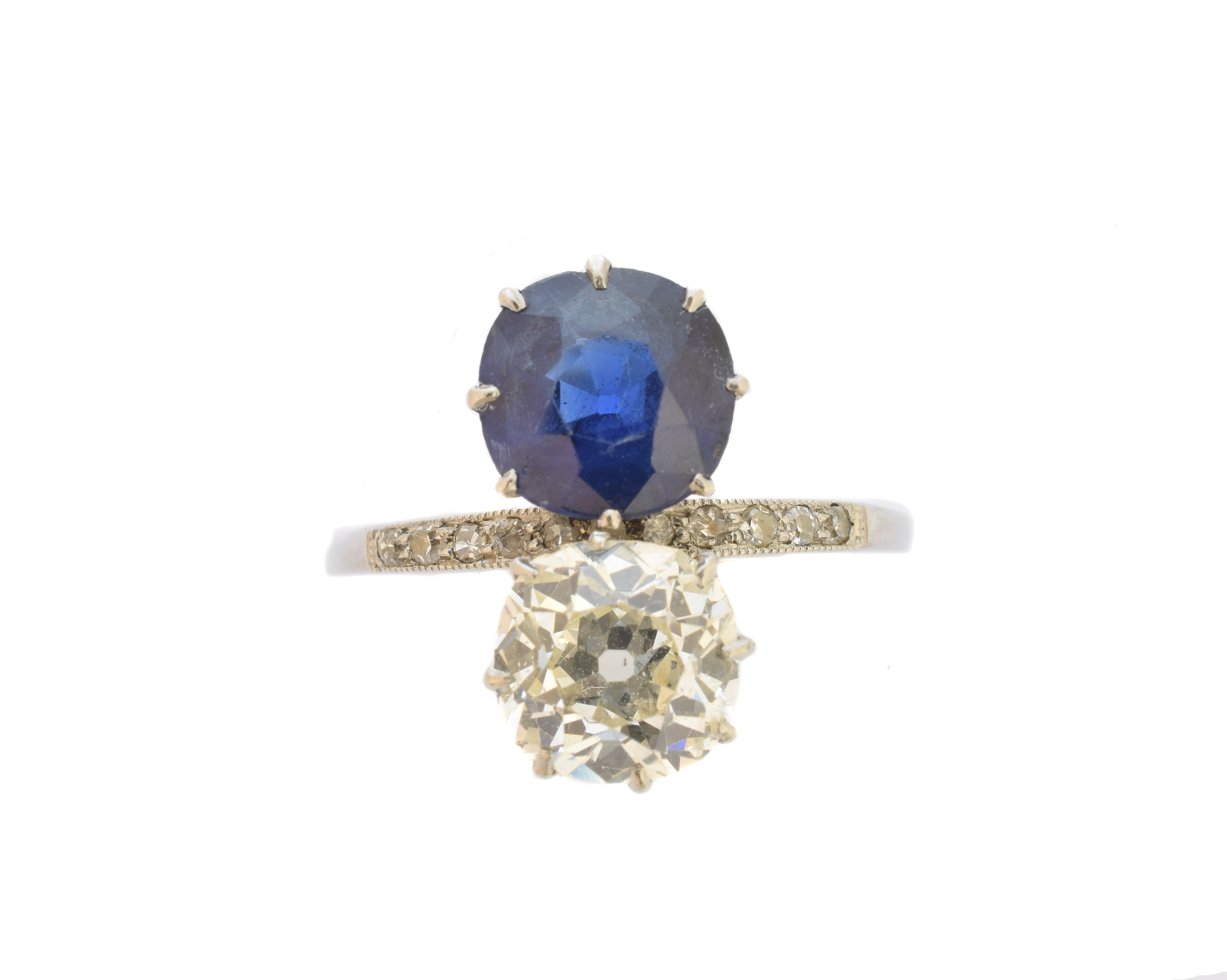 An early 20th century diamond and Basaltic sapphire toi et moi ring, sold for £3,900
