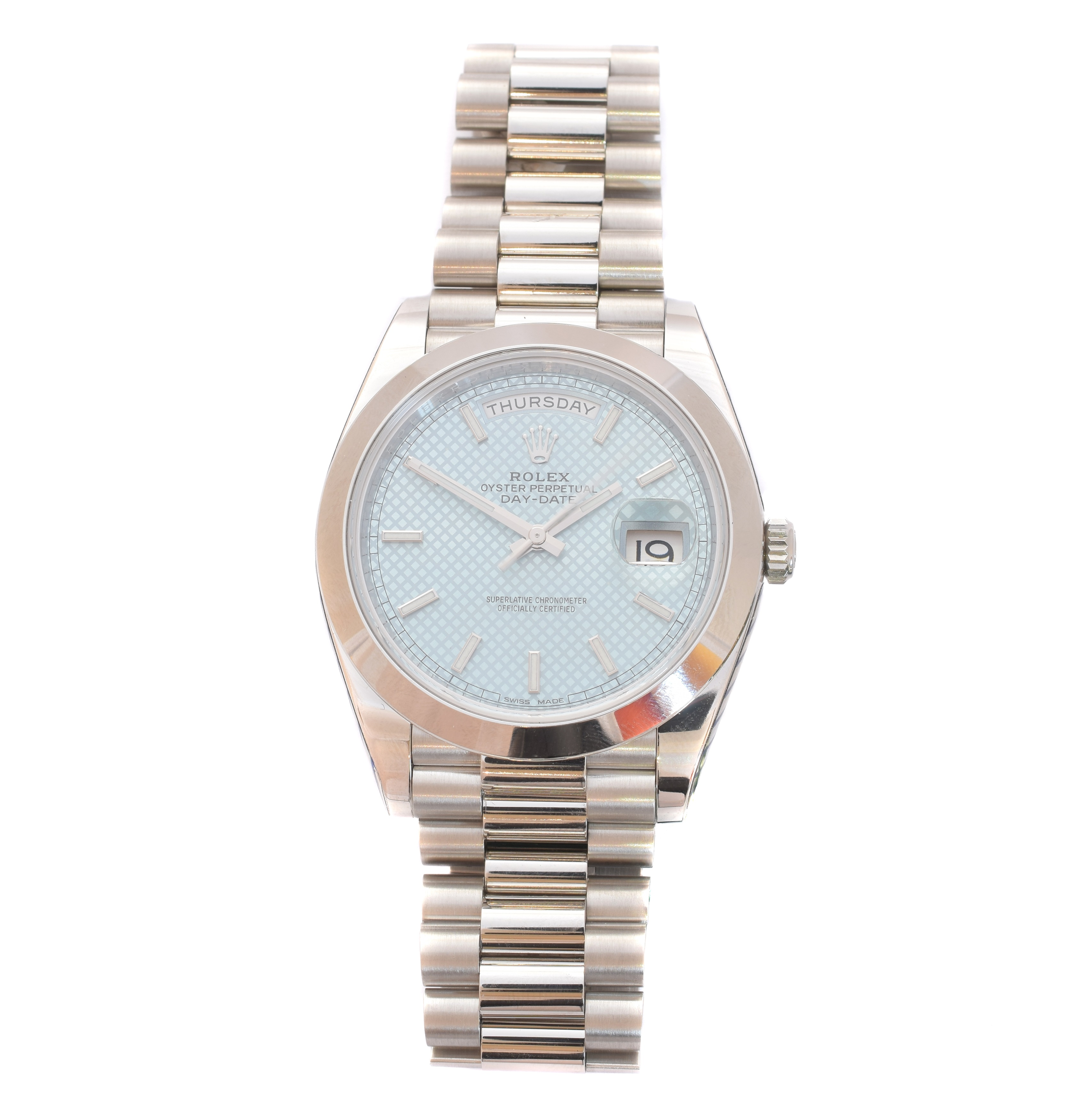 Gents Platinum Rolex Oyster Perpetual Rolex, circa 2000 Box and Papers