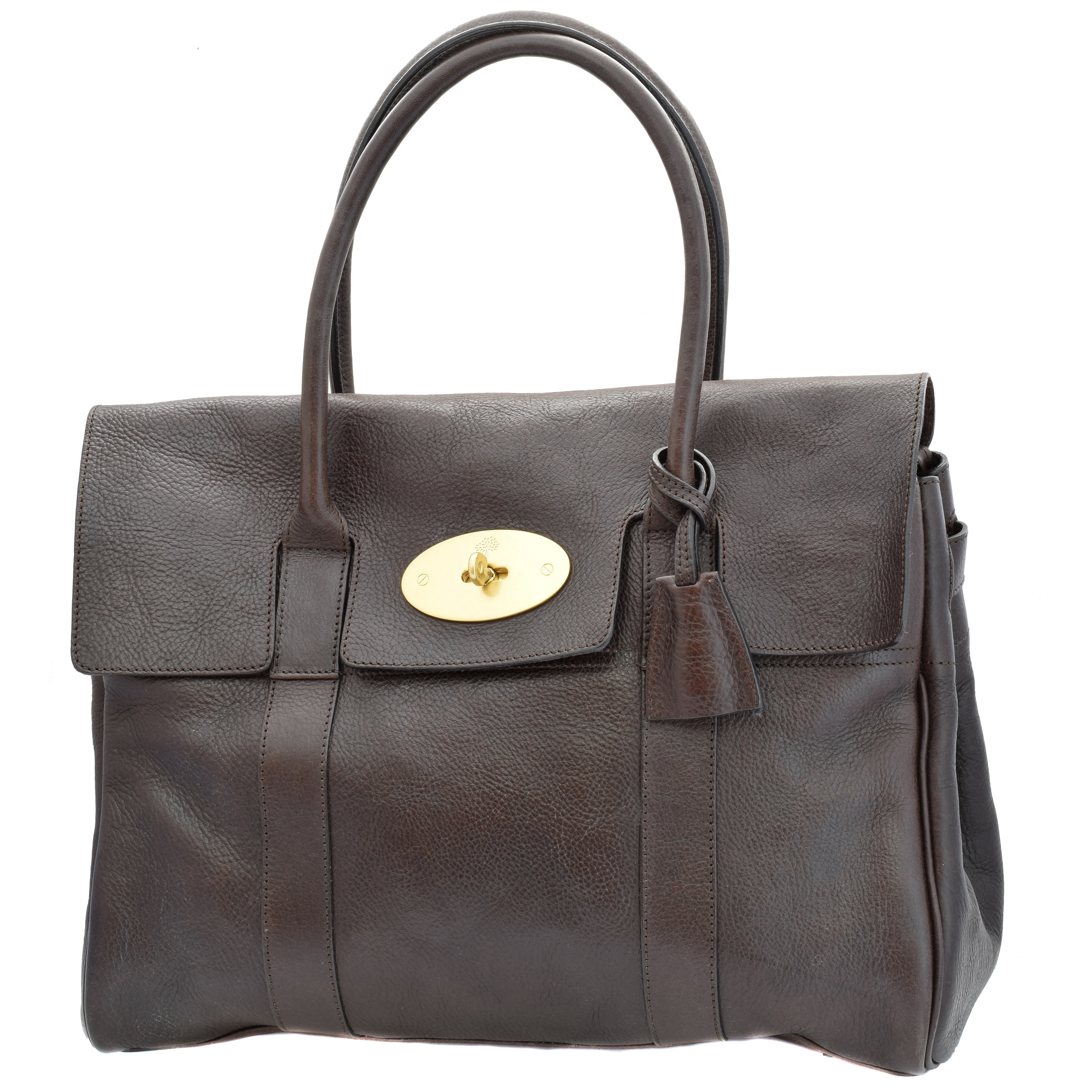 A Mulberry Bayswater handbag, the chocolate brown darwin leather exterior with traditional brass tone postman's lock, rollled handles and top flap opening to internal zip and slip pocket, with maker's dustbag, original tag and booklet.