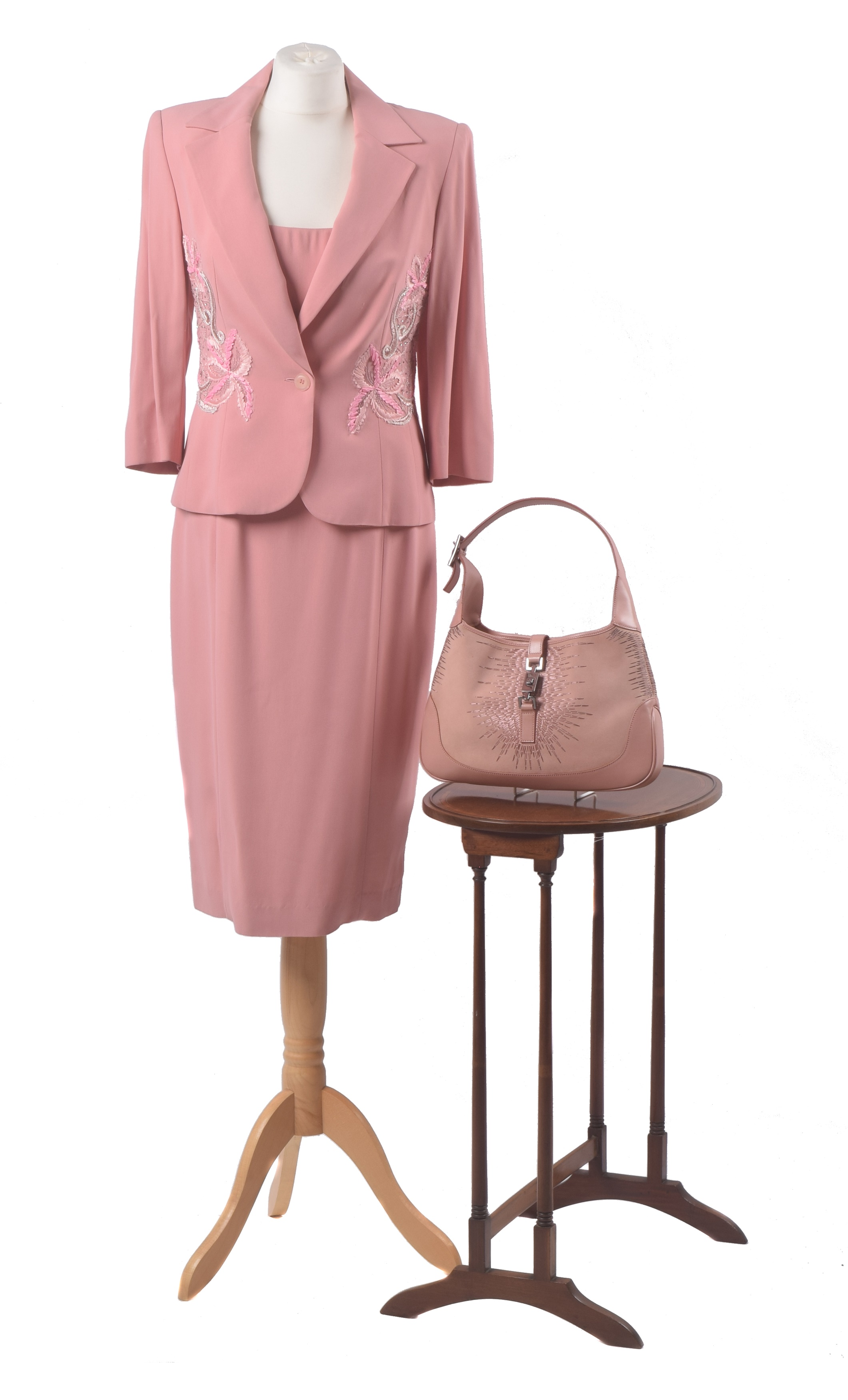 Gucci Jackie bag, pink embroidered suit