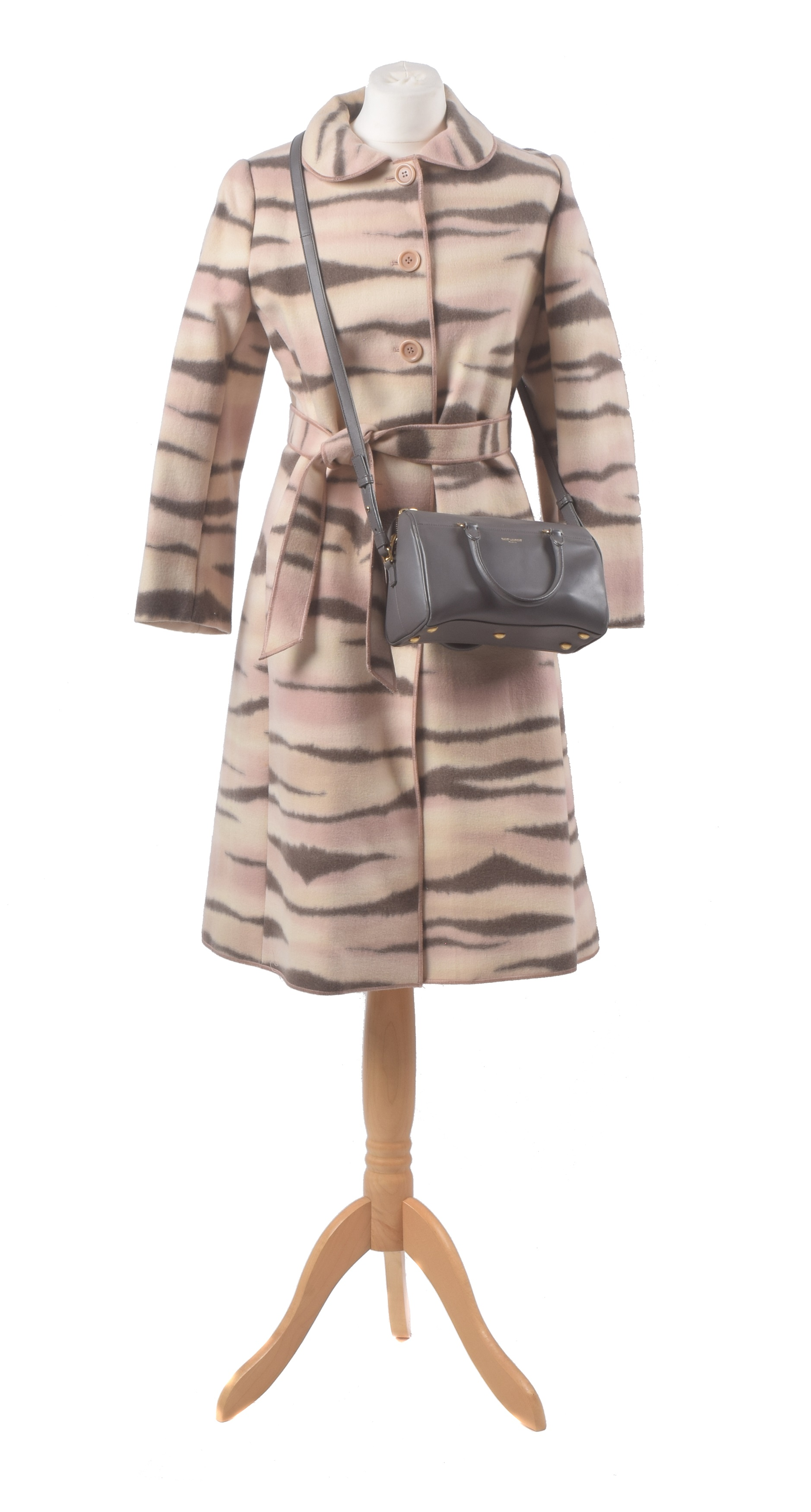 Moschino coat, YSL bag
