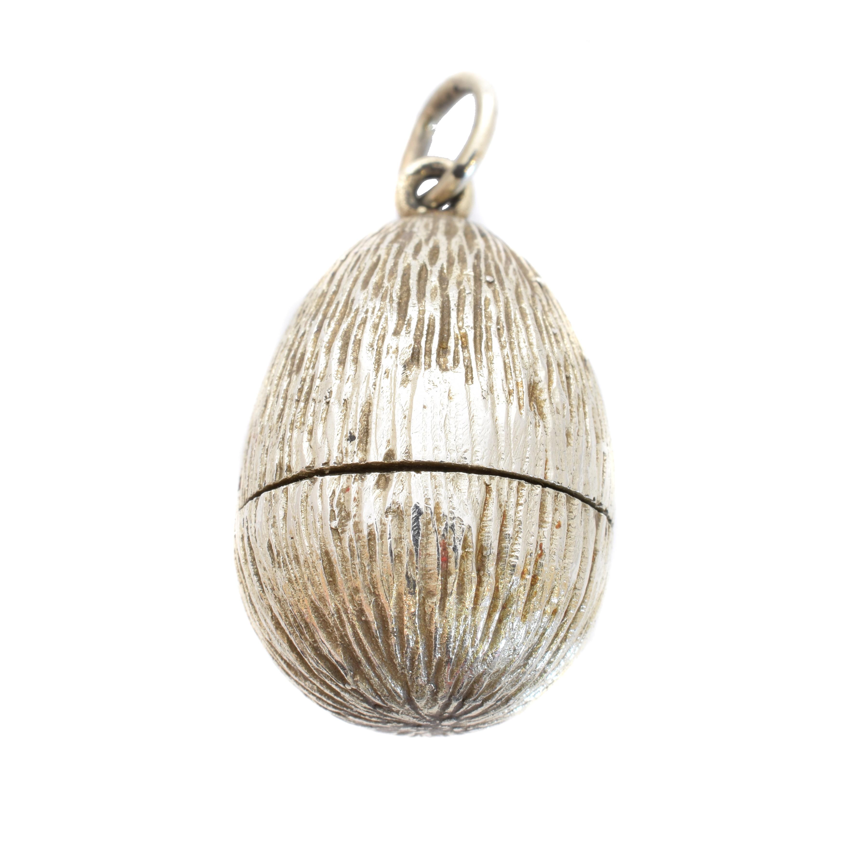 Stuart Devlin Silver Easter Egg Pendant