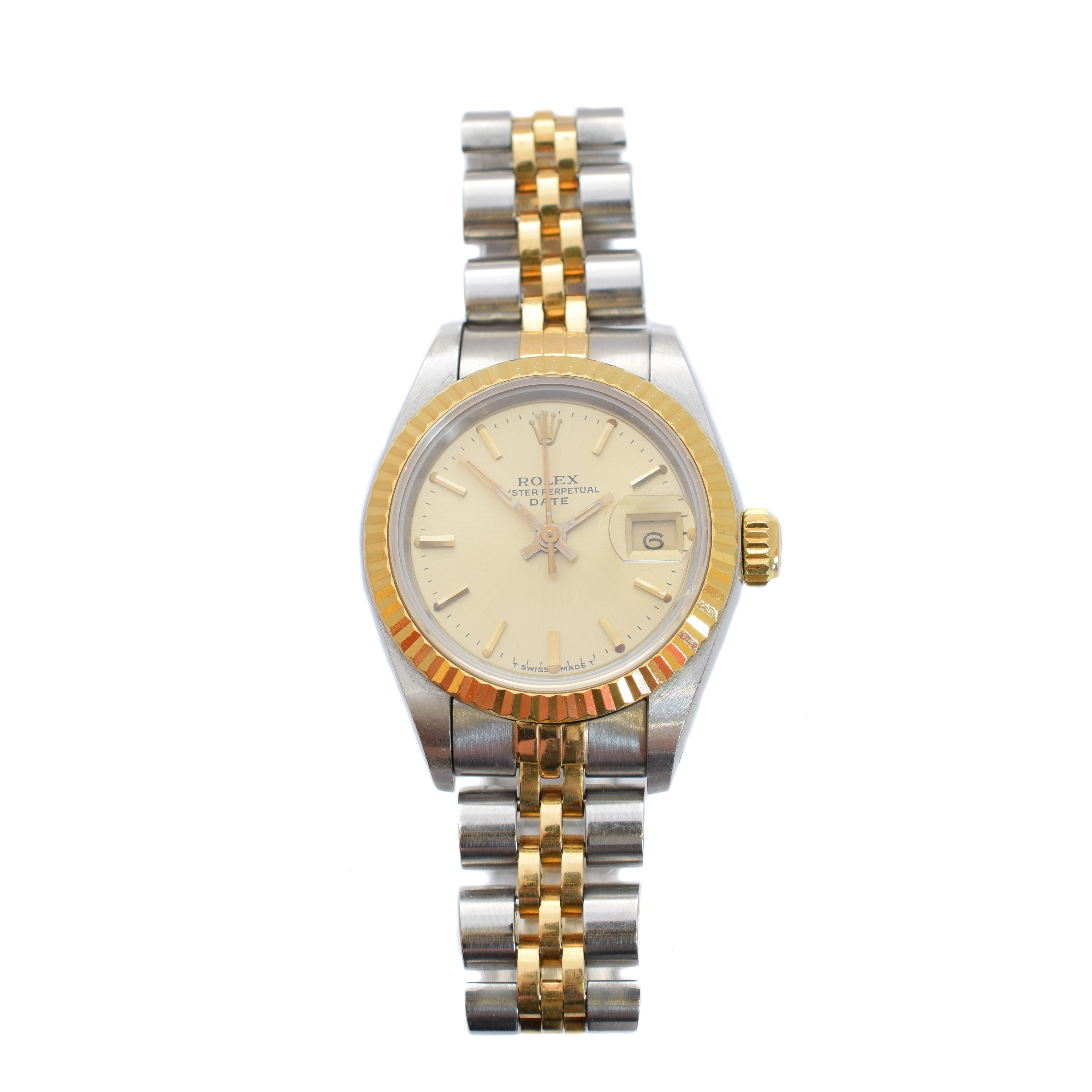 A ladies steel and gold Rolex Oyster Perpetual Datejust wristwatch, circa 1985, sold for £1,700