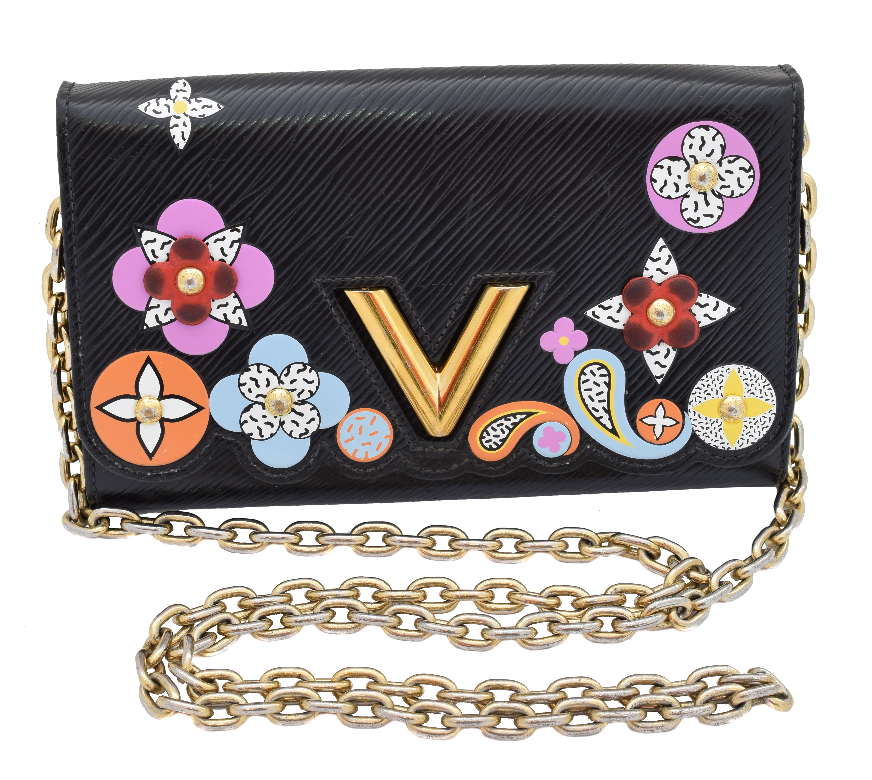 A Louis Vuitton Twist Blossom Edition Wallet on Chain Shoulder Bag, circa 2017, the maker's black Epi leather exterior with vari colour floral accents, gold-tone maker's clasp and chain handle, serial number SP3177. With maker's dustbag.