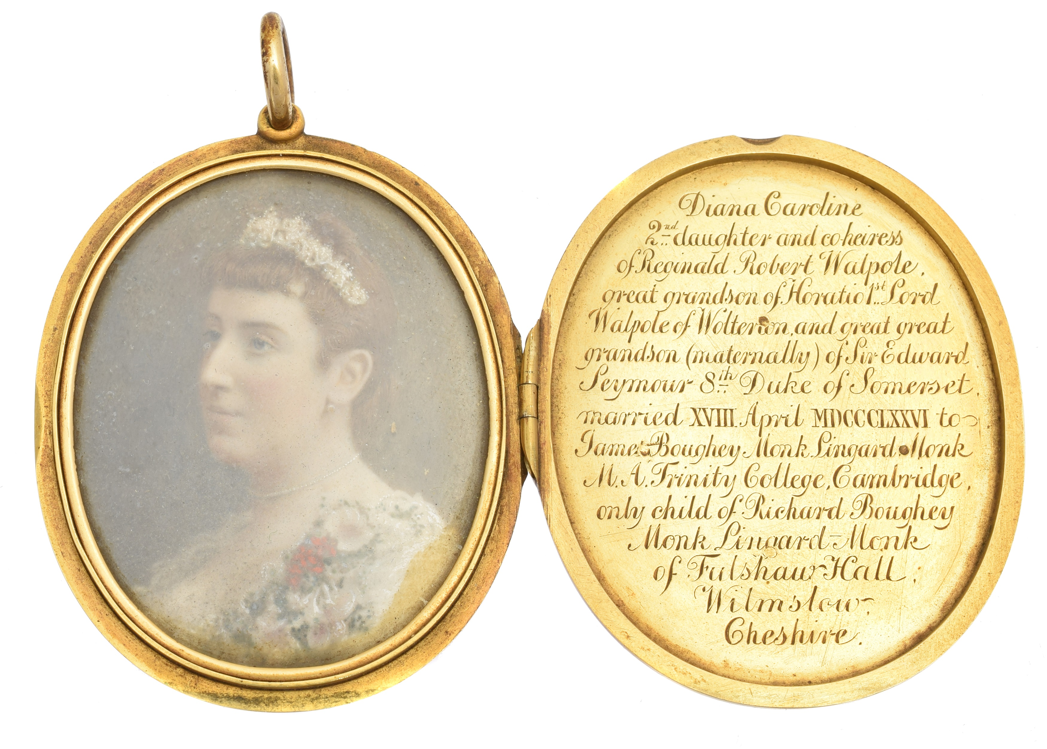 A late Victorian 18ct gold photograph miniature locket, the oval shape hinged locket with engraved with monogram, cartouche and 'Diana' to front, and coat of arms to reverse, the locket opening to reveal a photograph miniature of Diana Caroline Walpole, with inscription reading 'Diana Caroline 2nd daughter and co-heiress of Reginald Robert Walpole, great grandson of Horatio 1st Lord Walpole of Walterton and great great grandson (maternally) of Sir Edward Seymour 8th Duke of Somerset. married XVIII April MDCCCLXXVI to James Boughey Monk Linguard Monk M.A, Trinity College, Cambridge, only child of Richard Boughey Monk Linguard-Monk of Fulshaw Hall, Wilmslow, Cheshire.' hallmarks for EK, London, 1881, length 6.7cm, gross weight 59.7g.