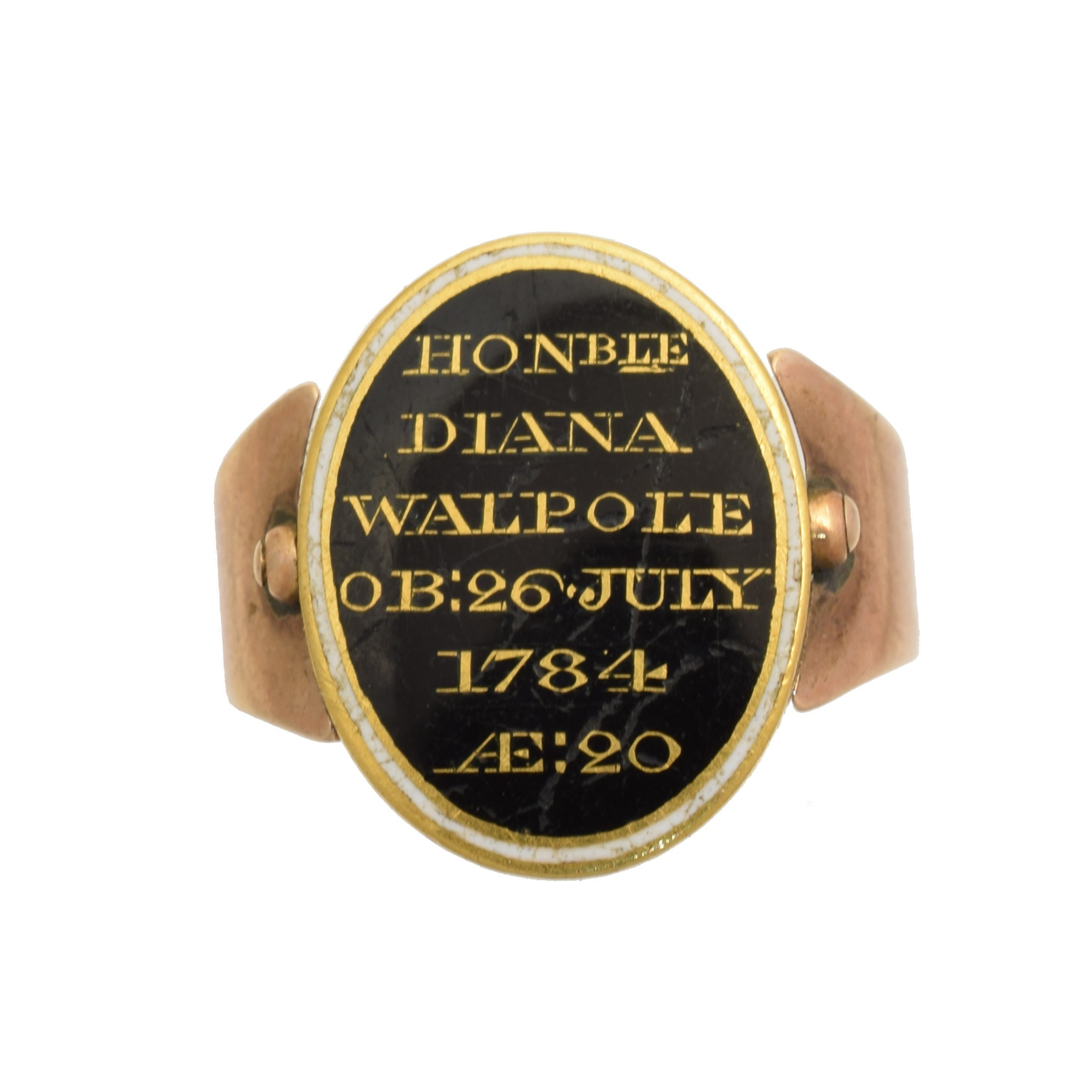A George III swivel mourning ring, with black and enamel panel inscribed 'Honble Diana Walpole Ob:26 July 1784 Ae: 20' with hair panel to reverse, ring size H, gross weight 5.1g.     The Hon. Mrs. Diana Walpole, neé Grosset, married the Hon. Robert Walpole on 8th May 1780. Robert Walpole (1736 - 1810) was the fourth son of Horatio Walpole, 1st Baron Walpole of Wolterton, and nephew of Robert Walpole, 1st Earl of Orford, who is considered the de facto first Prime Minister of Great Britain.