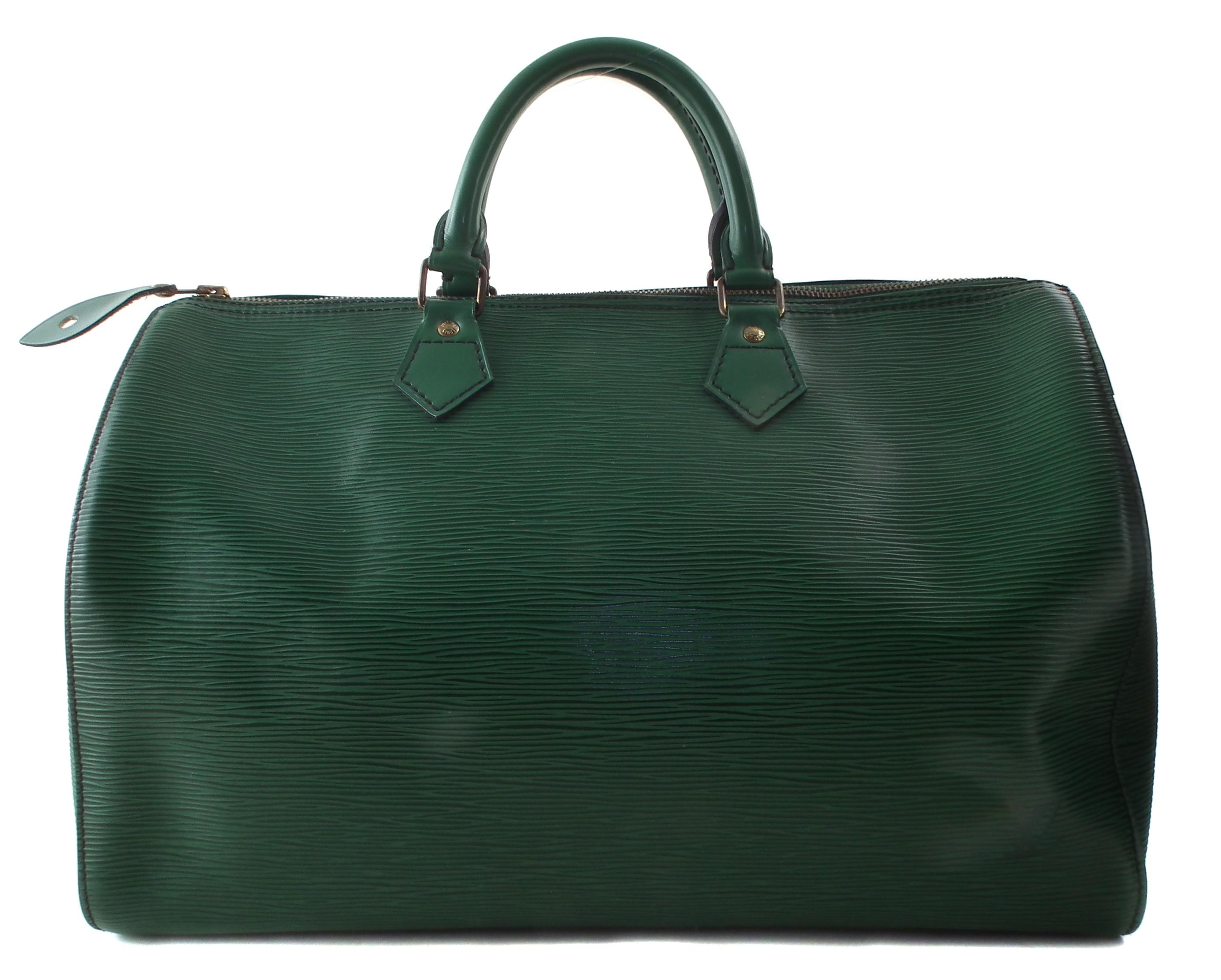 A Louis Vuitton green Epi Speedy 35 handbag