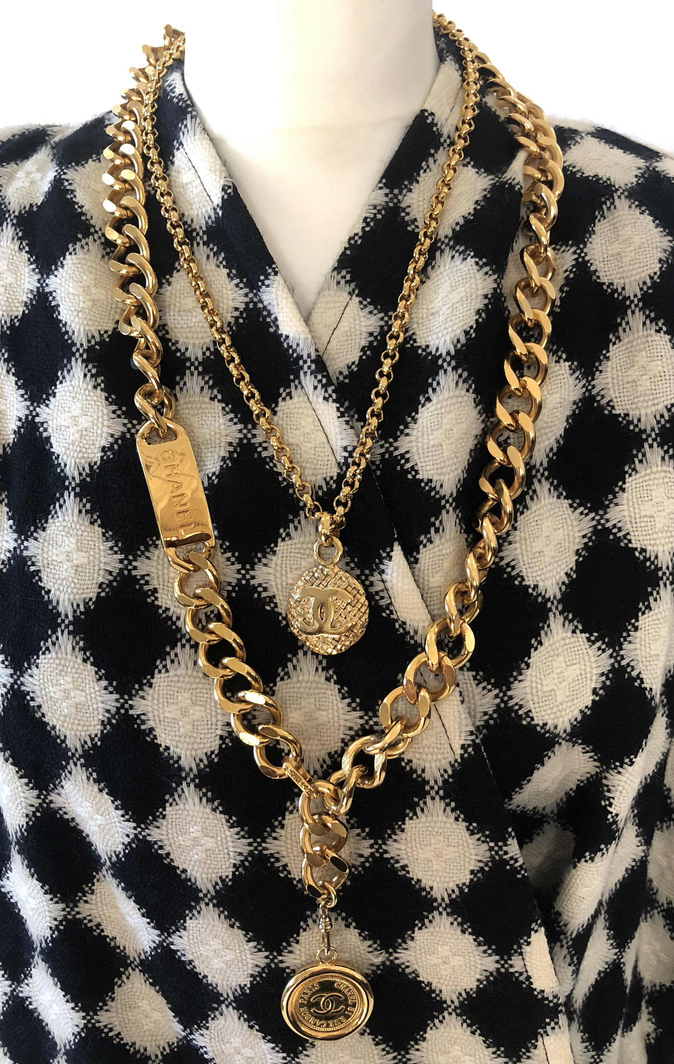 Chanel necklaces and Karl Lagerfeld coat