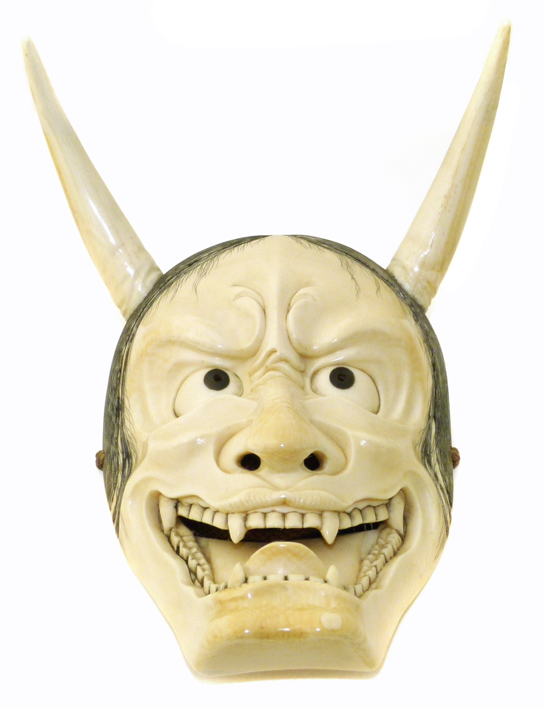 Japanese Meji Period Ivory Noh Mask depicting Hannya
