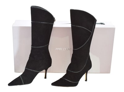 A pair of Jimmy Choo heeled boots, the black suede boots with smooth black leather scalloped detailing, pointed toe and zip back, size 37, with maker's dust bag and box.