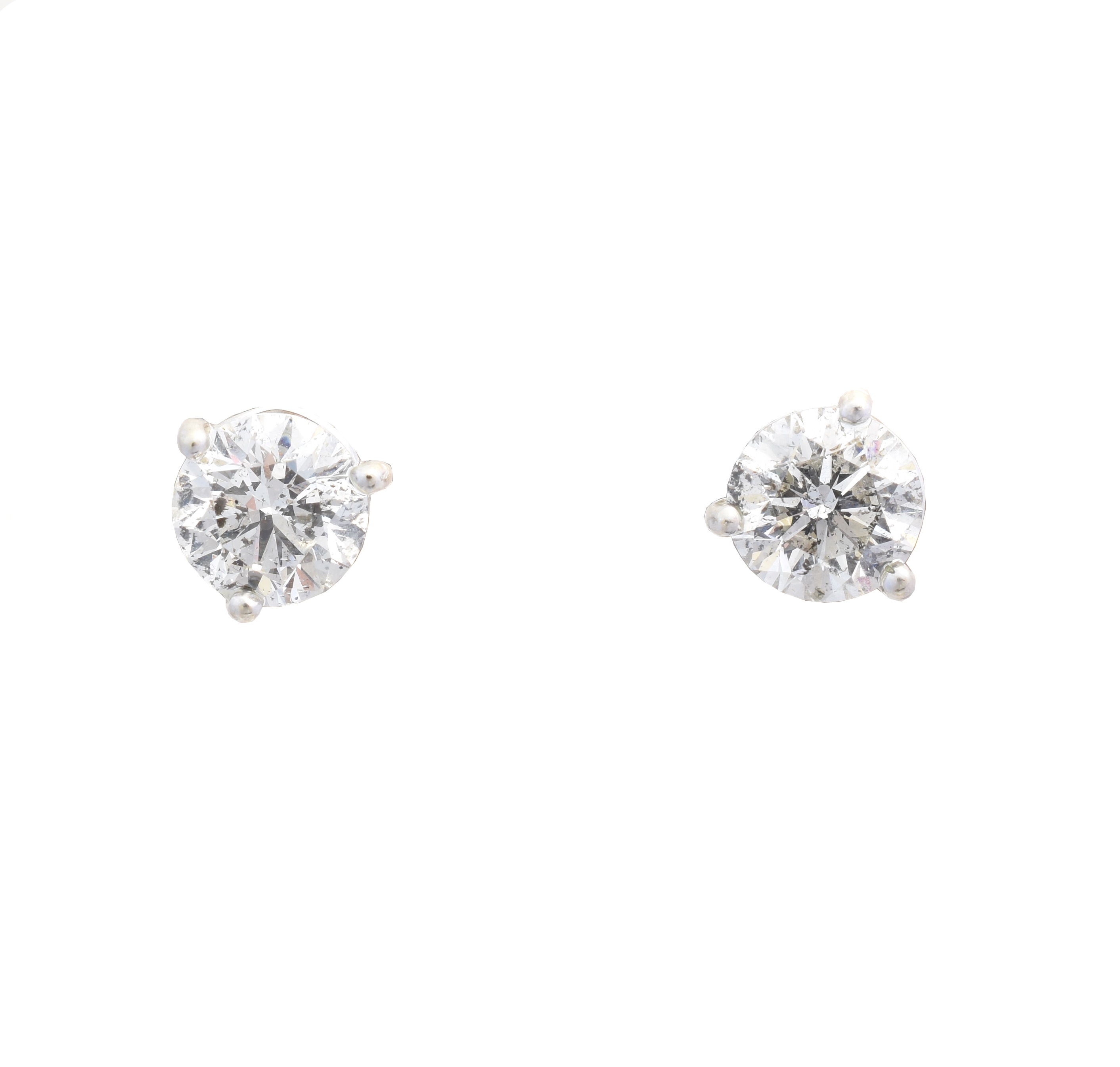 A pair of brilliant cut diamond stud earrings, estimated total diamond weight 2.45cts, estimated colour I-J, estimated clarity P1-P2, stamped 585, gross weight 2.5g.