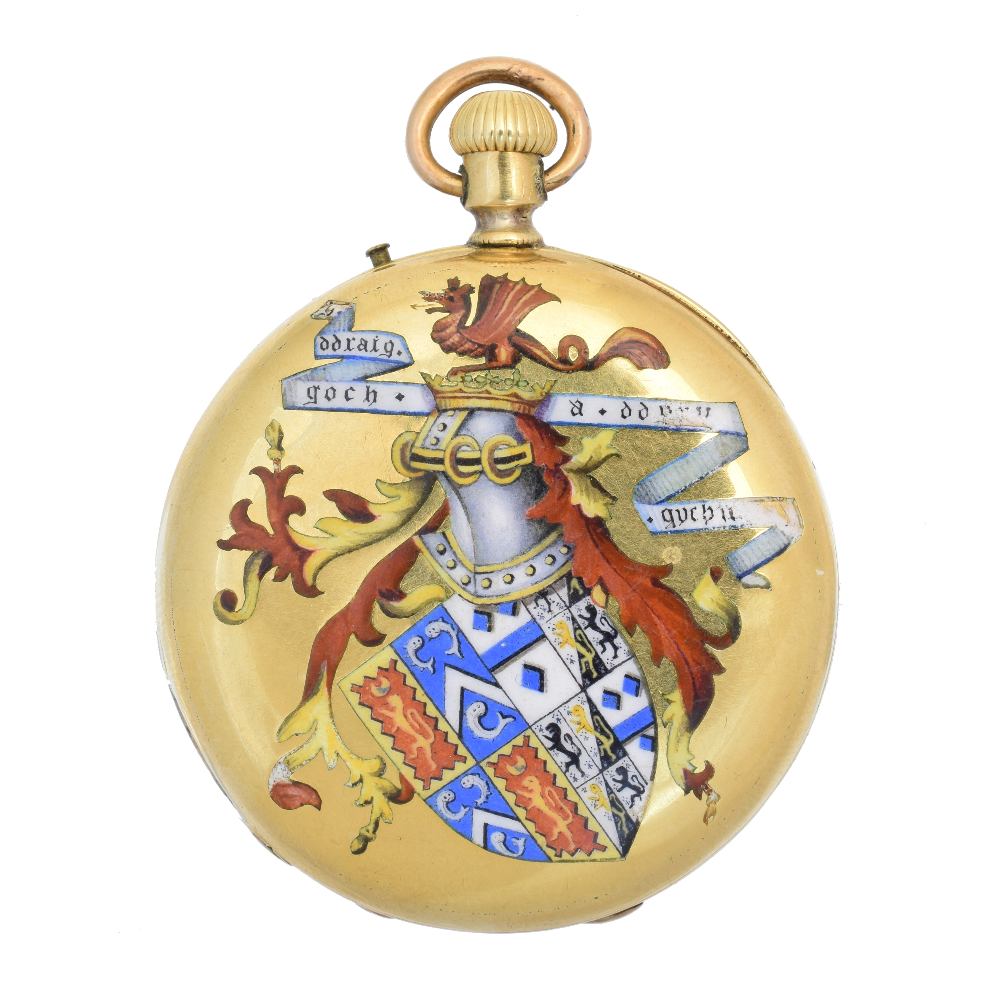 A late 19th century 18ct gold enamel hunter pocket watch, the 18ct gold case bearing vari shade enamel decoration, one side a monogram, and the other coat of arms and 'y ddraig goch a ddyry gychwyn' motto (the red dragon inspires action) with roman numeral markers, unsigned keyless movement, inner case signed 'J.W. Benson by special appointment to HRH The Prince of Wales, 25 Old Bond Street' case, bearing French assay marks, case diameter 37mm, gross weight 45.6g.