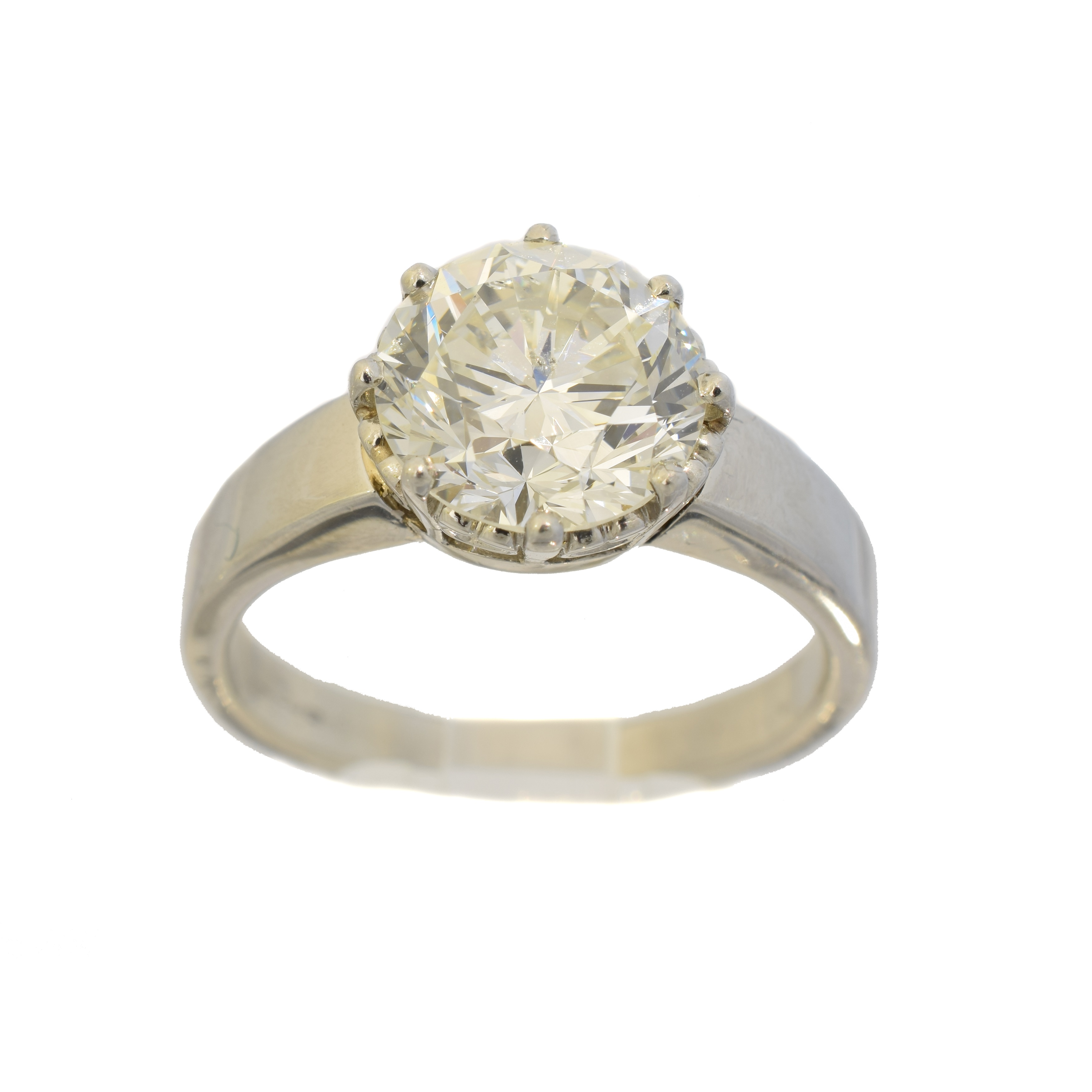 A platinum diamond single stone ring, the brilliant cut diamond weighing approx. 4cts within an eight claw setting, estimated colour J-K, estimated clarity SI2-P1, hallmarks for Birmingham, ring size U, gross weight 11.3g.