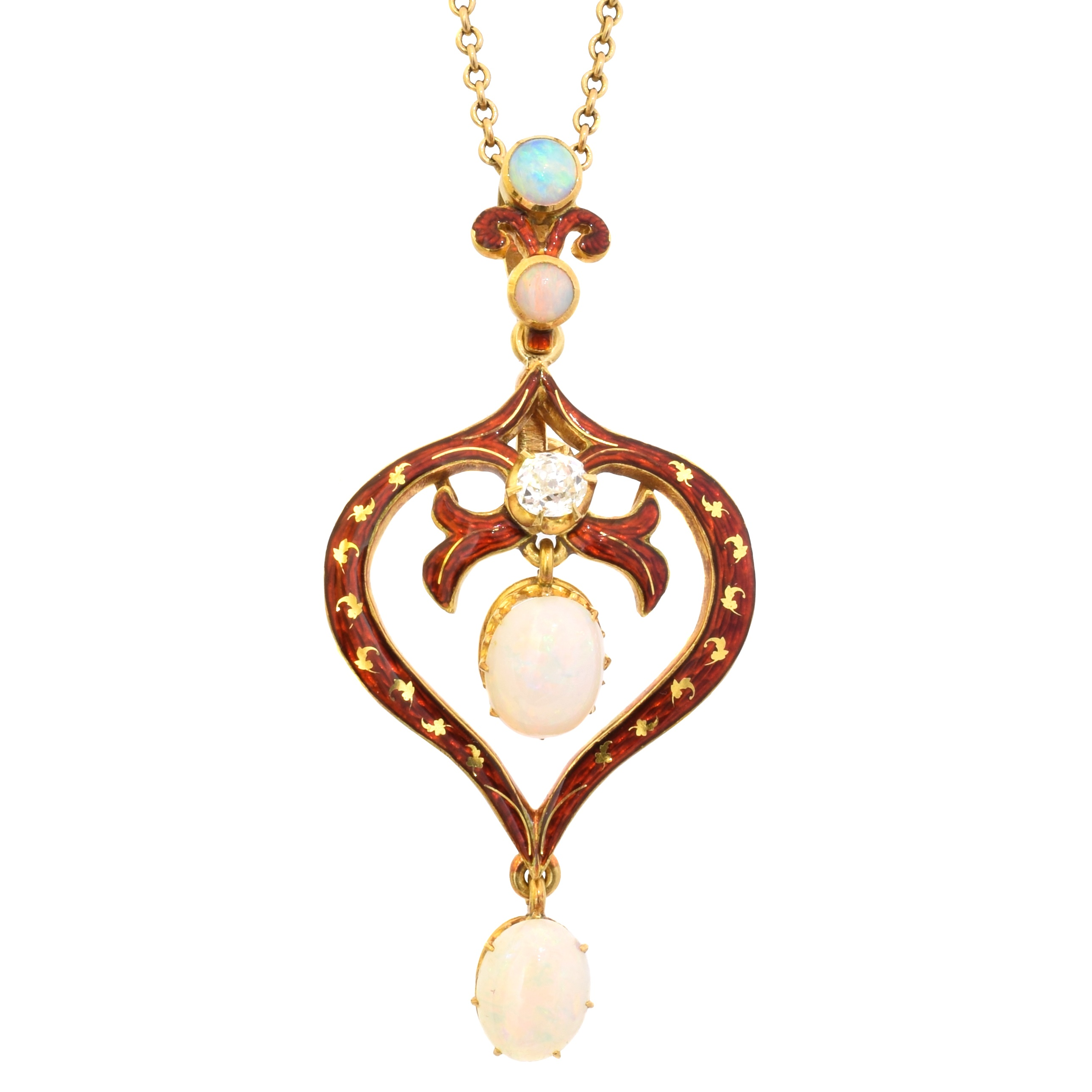 An early 20th century enamel opal and diamond pendant by Mrs Newman, of openwork design, the oval opal cabochon and old cut diamond line within a red enamel surround and scrolling surmount, with unassociated fancy link chain, may also be worn as a brooch, signed Mrs N, with detachable brooch fitting, length 4.9cm, gross weight 8.5g. With maker's fitted case 'Mrs Newman Goldsmith & Court Jeweller 10 Savile Row.
