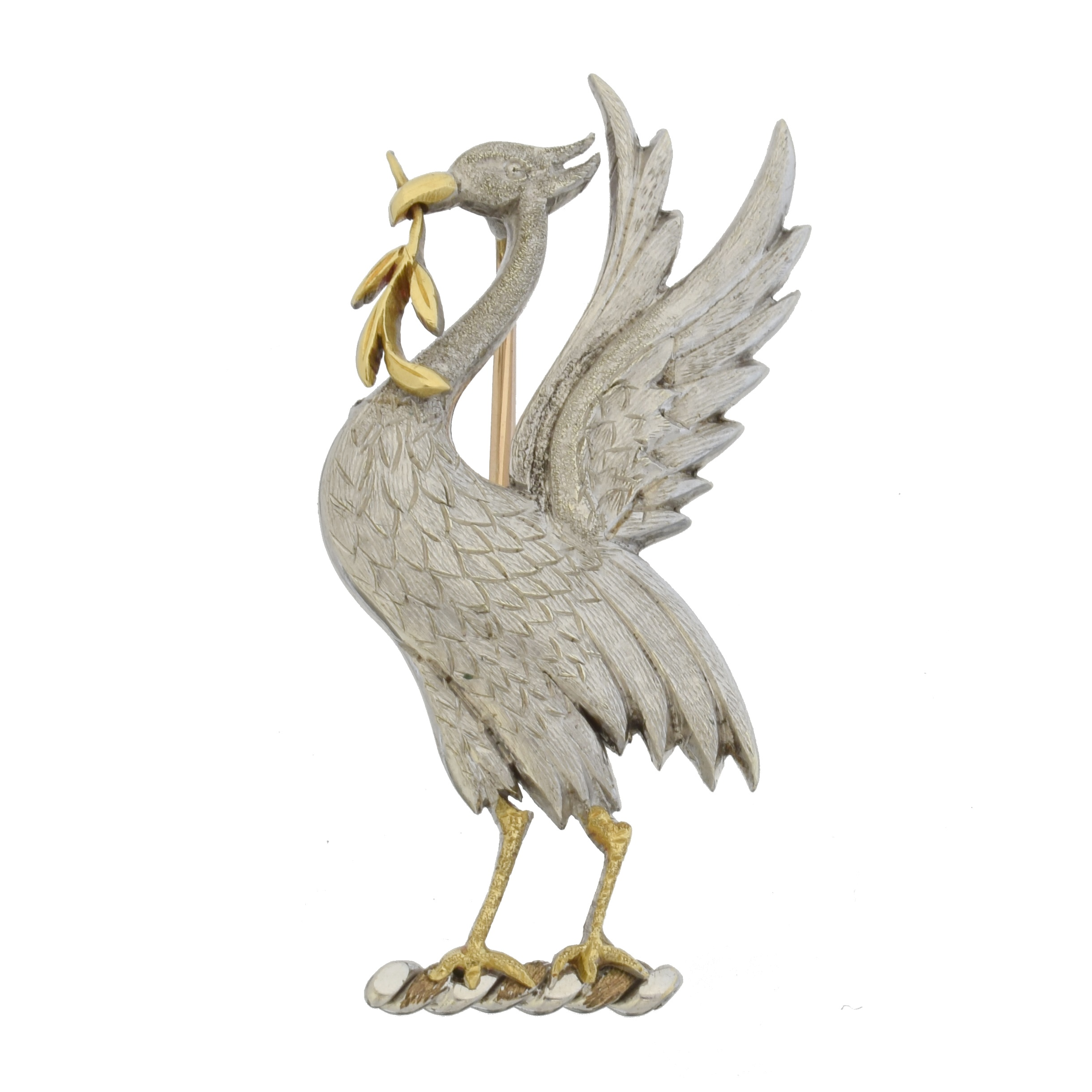 A 9ct gold Liverbird brooch by Alabaster & Wilson, realistically modelled in a bi-colour design, hallmarks for Alabaster & Wilson, Birmingham, 1943, length 4.3cm, gross weight 9.5g. With Boodle & Dunthorne box.  Commissioned and made by Alabaster & Wilson as a presentation piece to Margaret Hall, Lady Mayoress of Liverpool from 1935-6. Further Liver Bird brooches by Alabaster & Wilson in varying designs were retailed by Boodle & Dunthorne in the 1950s.