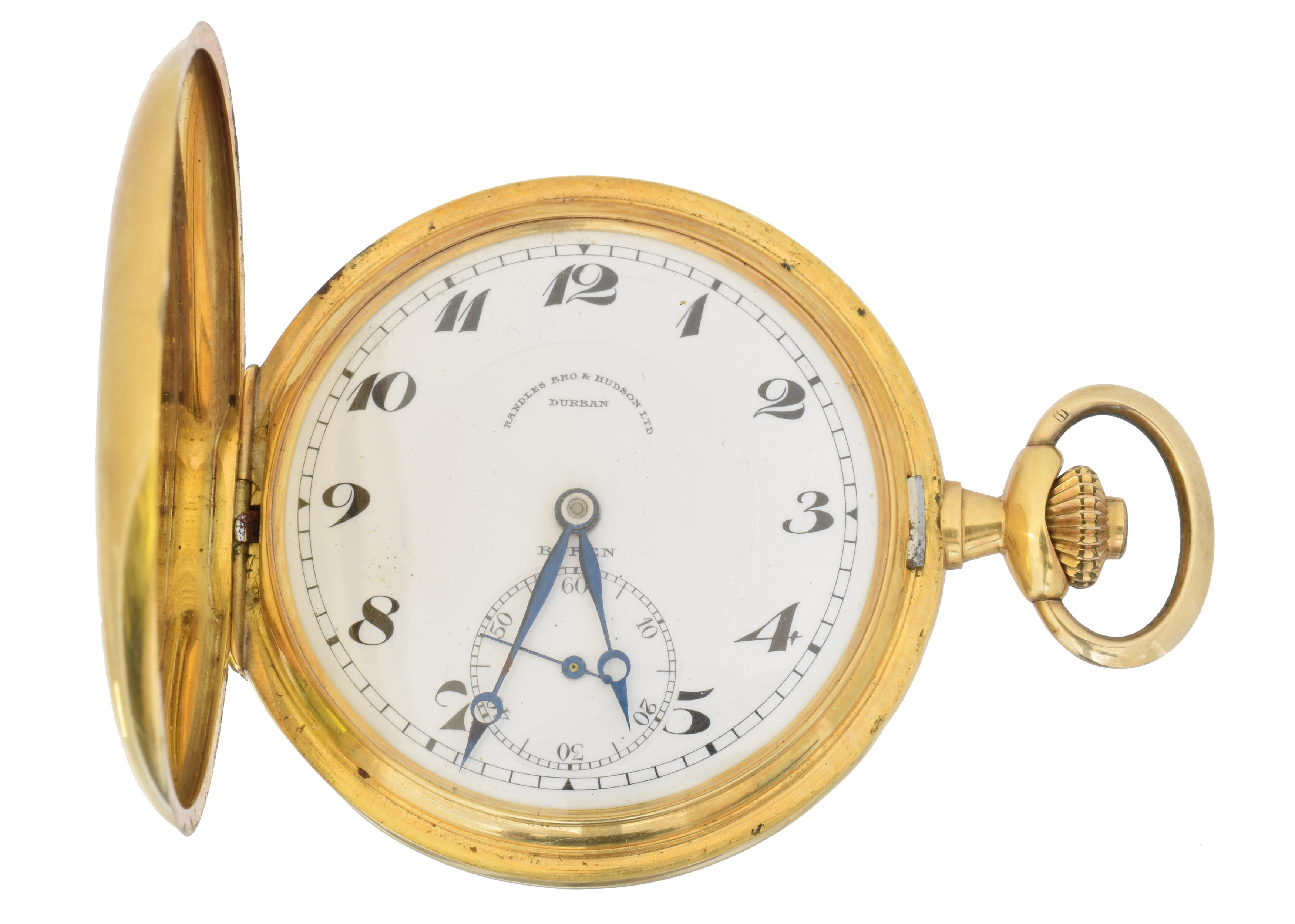 An 18ct gold full hunter pocket watch by Buren, the white enamel dial signed 'Randles Bro & Hudson Ltd Durban, Buren' with Roman numeral hour markers, subsidiary seconds dial to 6 and outer minutes track, signed keyless movement, within an 18ct gold case bearing Swiss assay marks, numbered 55526, with monogram and dated inscription 25.2.33 to front, case diameter 47mm, gross weight 70g.