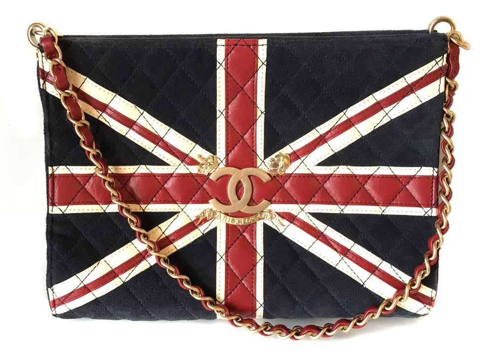 hanel union jack quilted suede and leather bag (2008-2009), with gold coloured metal hardware, signature logo to the front, chain strap, zipped internal wall pocket, pin striped interior, serial number inside the bag 12336431, 9 x 24.5 x 6cm, shoulder height drop 26cm. Condition report: Condition of the bag is good, slight fading to the bottom corners and slight wear to other parts of the suede, one mark to the back, interior very good condition. Sold for £793