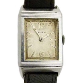 A 1930s stainless steel Jaeger-LeCoultre Reverso wristwatch, the rectangular signed silvered dial with arabic and dagger numerals, stainless case number: 5773, 35 x 22mm overall, Swiss 15-jewel movement serial: 223061, on leather strap.