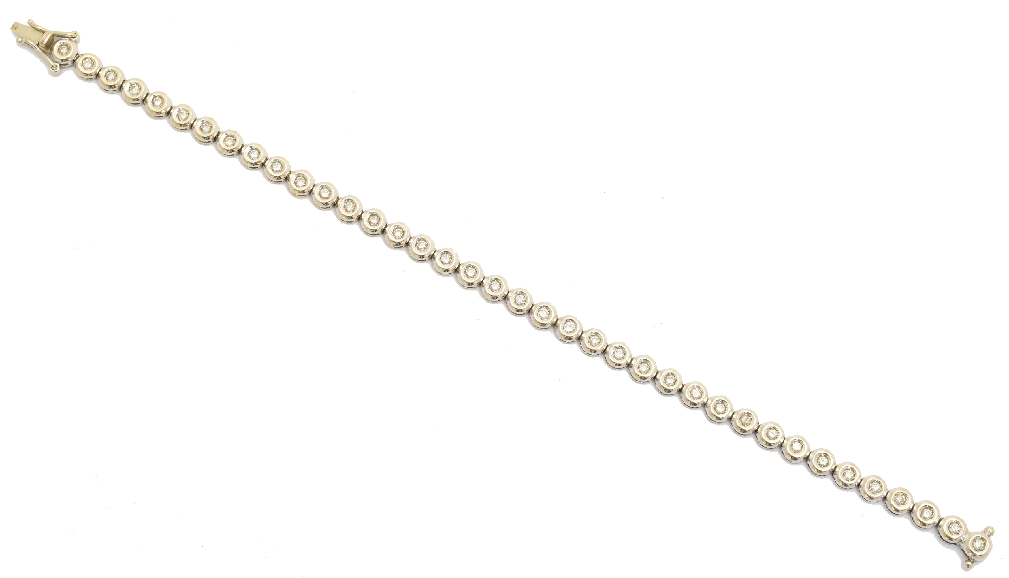 A diamond bracelet, designed as a series of brilliant cut diamond collets, with push piece clasp, total diamond weight 1ct, stamped K18, length 18cm, gross weight 10g.