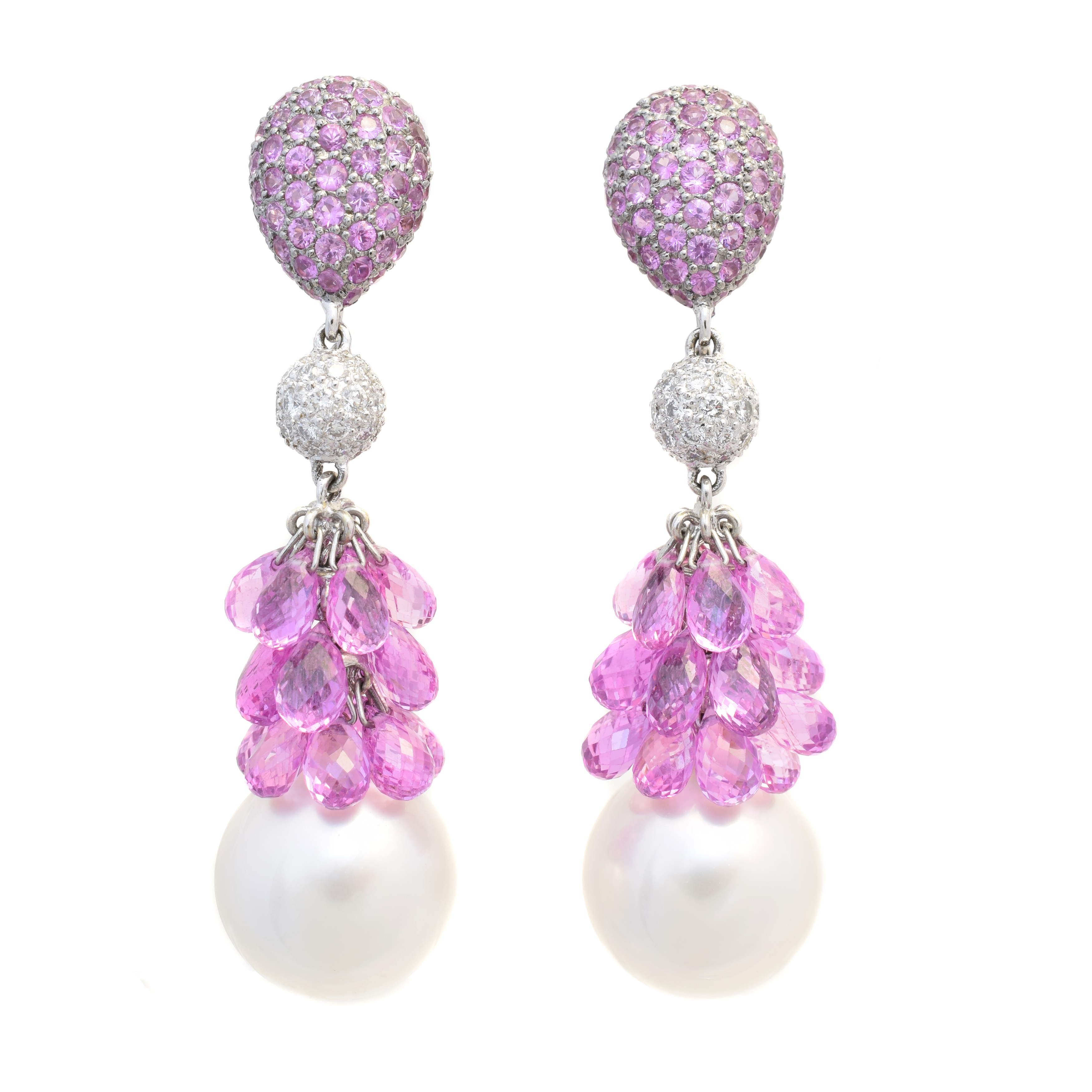 A pair of sapphire, diamond and cultured pearl earrings, each designed as a cultured pearl suspended from a briolette cut pink sapphire line, with pave set diamond and sapphire surmount, stamped 750, length 5.3cm, gross weight 24.7g.