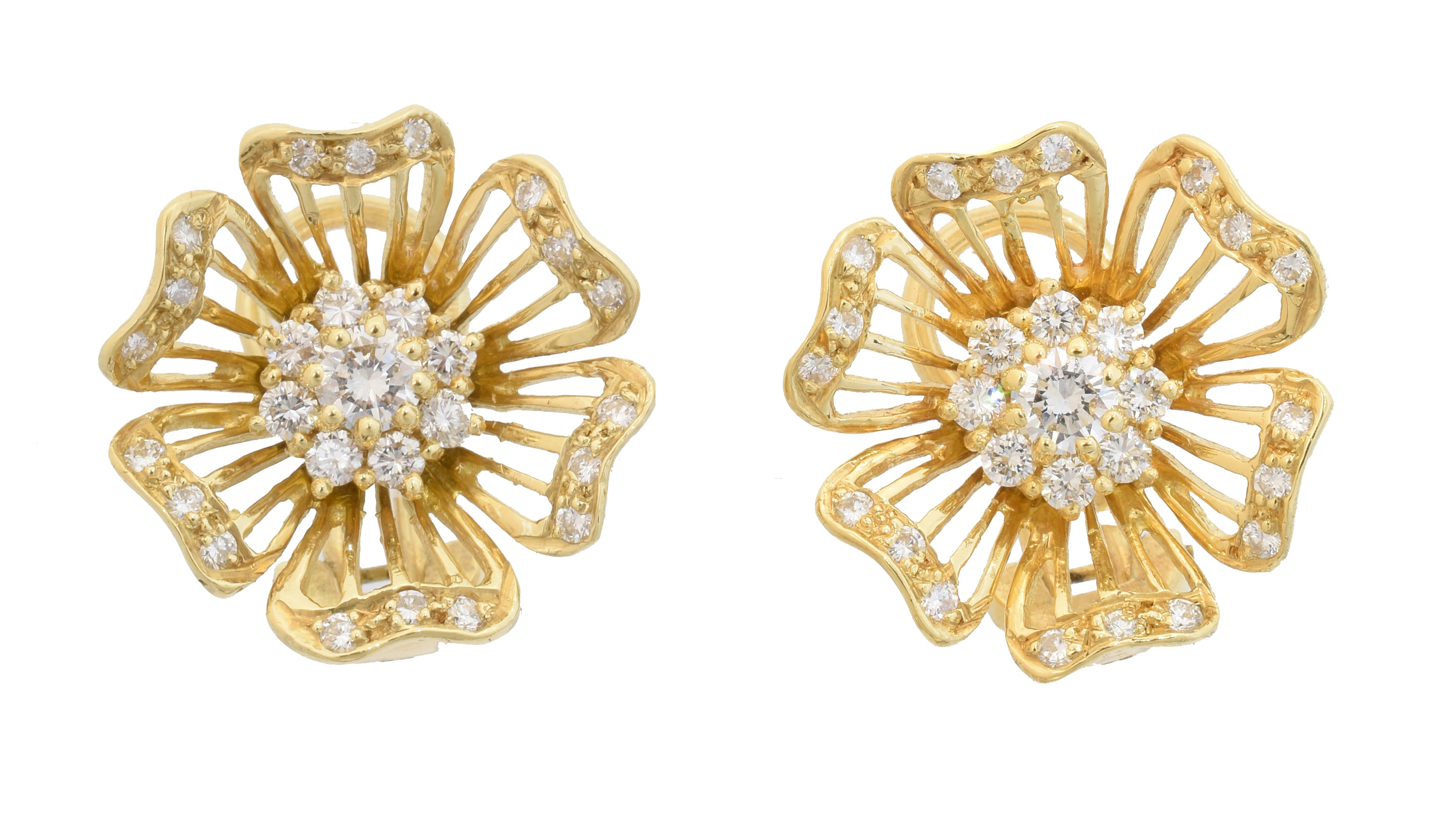 A pair of 18ct gold diamond earrings by Cropp & Farr, each designed as a brilliant cut diamond cluster within an openwork floral surround with similarly cut diamond petals, estimated total diamond weight 0.95ct, maker's marks for Cropp & Farr, hallmarks for London, 1995, length 1.8cm, gross weight 8.1g.