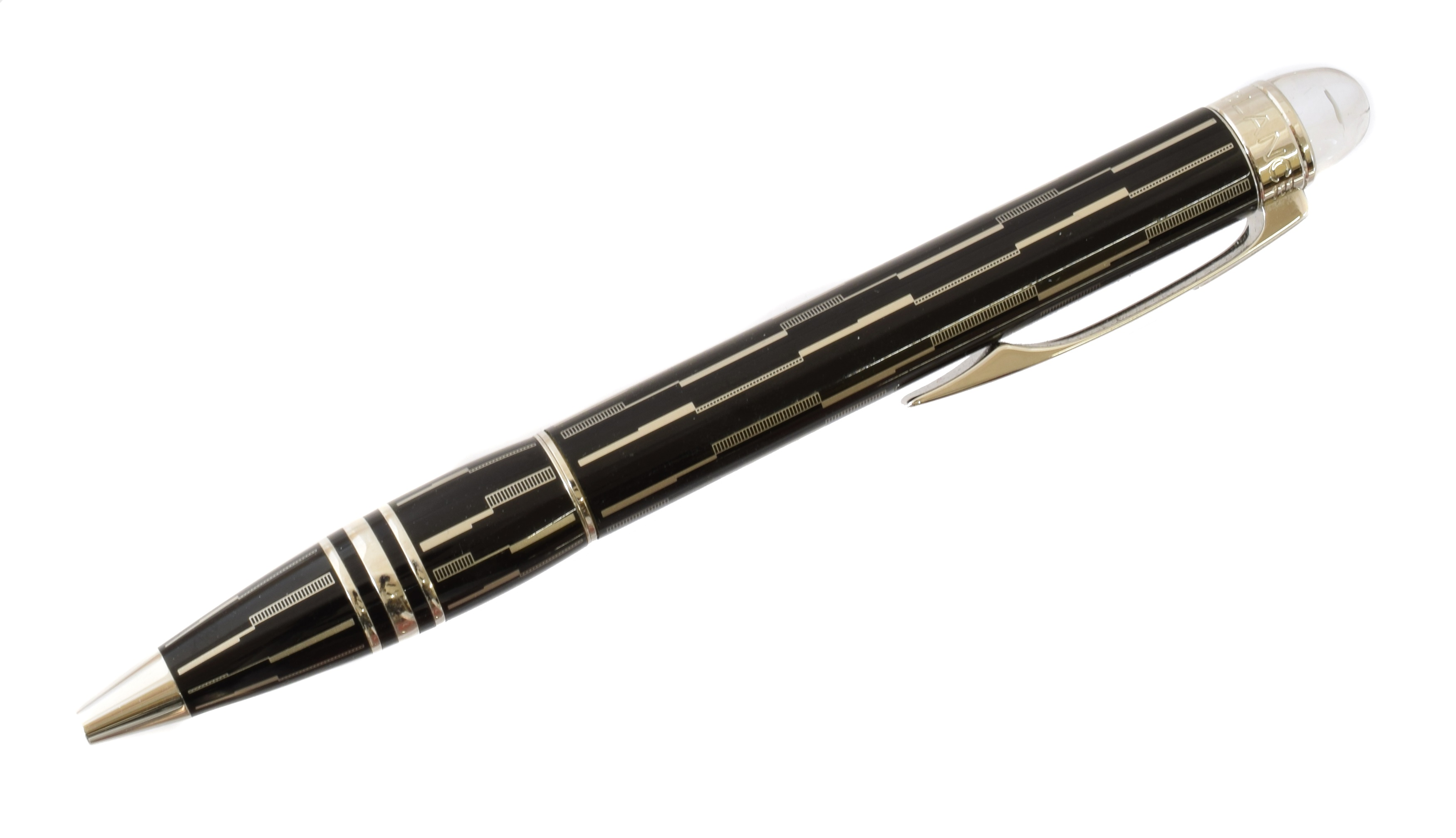 A Montblanc Starwalker Black Mystery Ballpoint Pen, the black resin body heightened with laser-engraved surface, the cap with clear resin finial enclosing the Montblanc logo, serial CT1653565, 13.5cm.