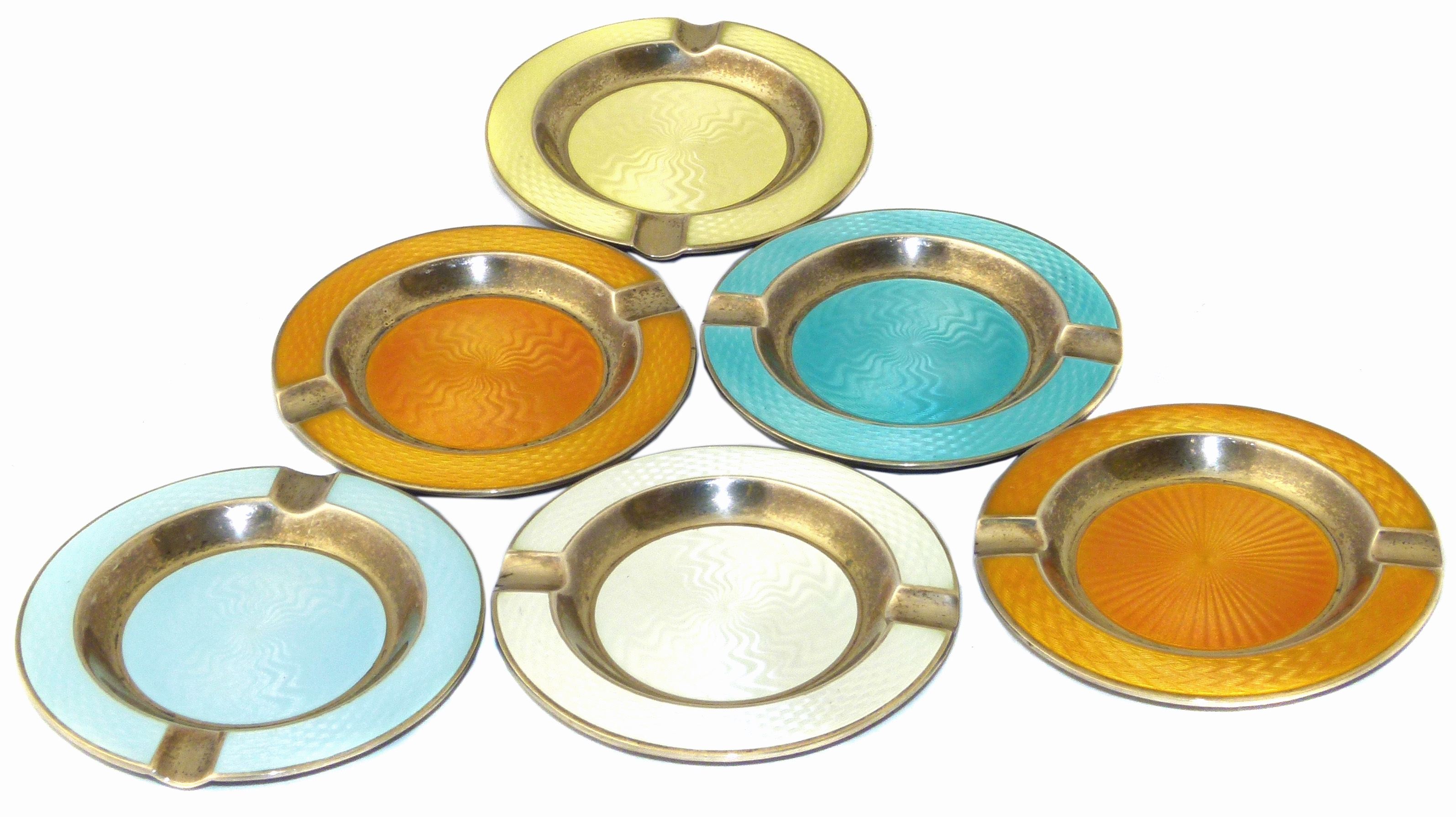 Six 1920s Silver Enamel Ashtrays