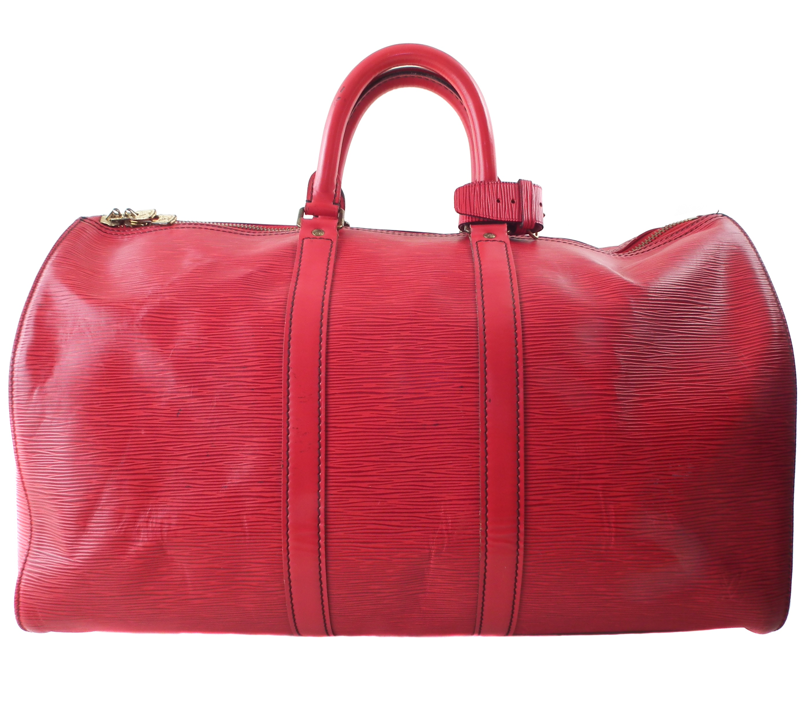 A Louis Vuitton red Epi Keepall 45 luggage bag