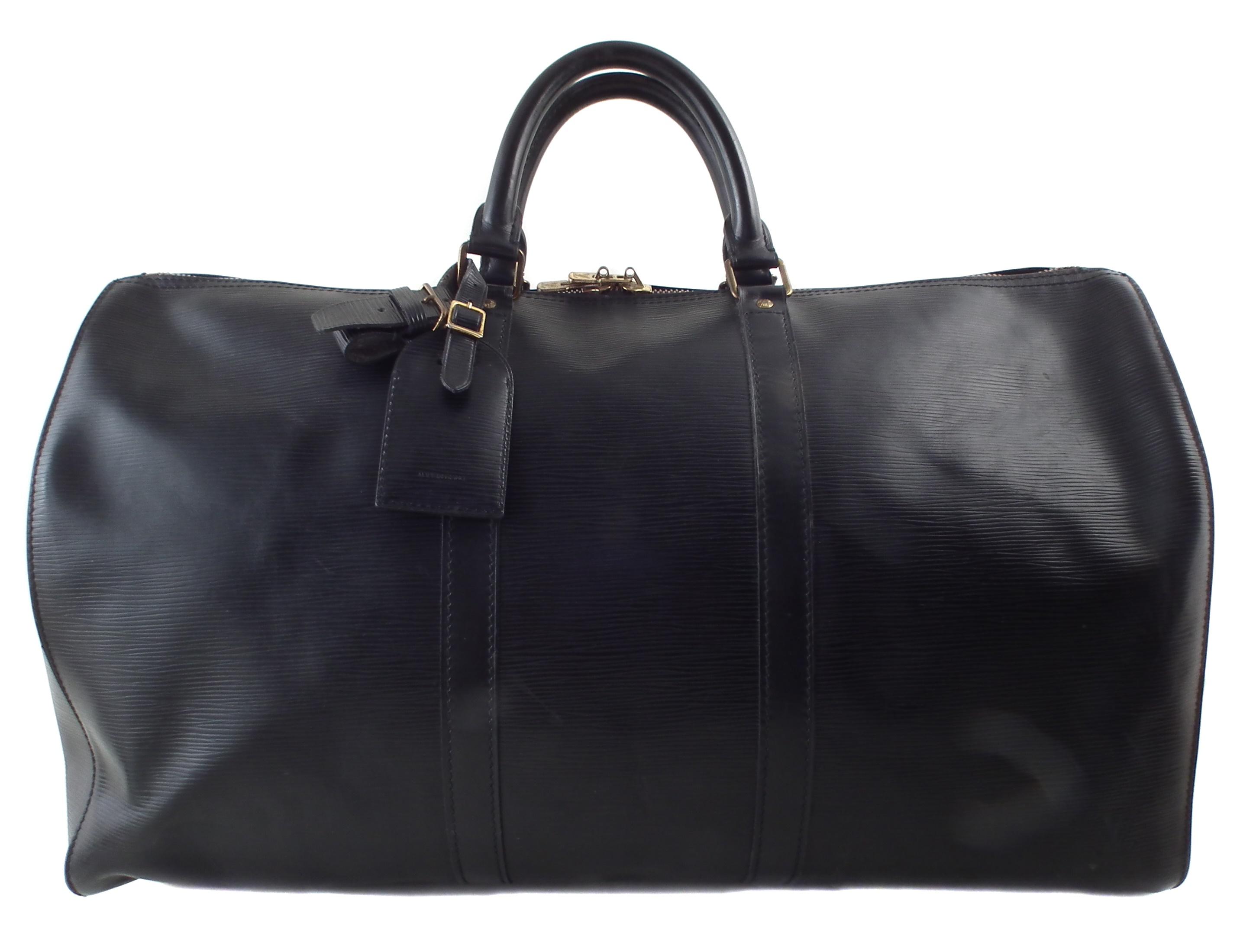 A Louis Vuitton black Epi Keepall 50 luggage bag