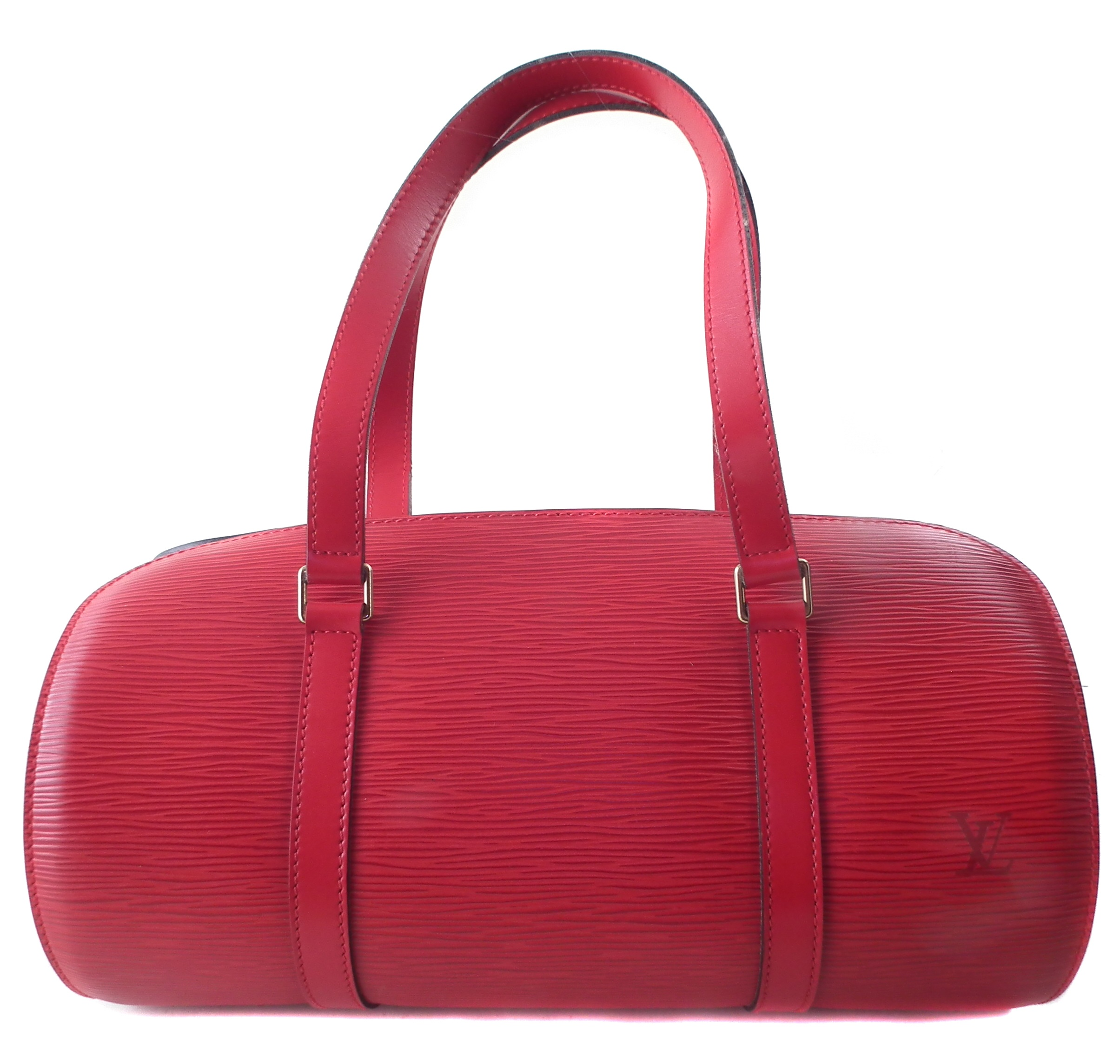 A Louis Vuitton red Epi Soufflot handbag and pouch,