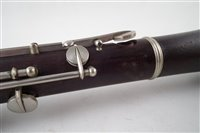 Lot 28-Oboe by Jerome Thibouville - Lamy 1867-1950 Eb pitch (possibly for a military band) with 10 Charterhouse Street London address, black wood with nickel silver keys.