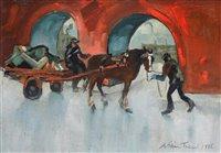 "197 - William Turner, ""Carter in Castle Street, Manchester"", oil."