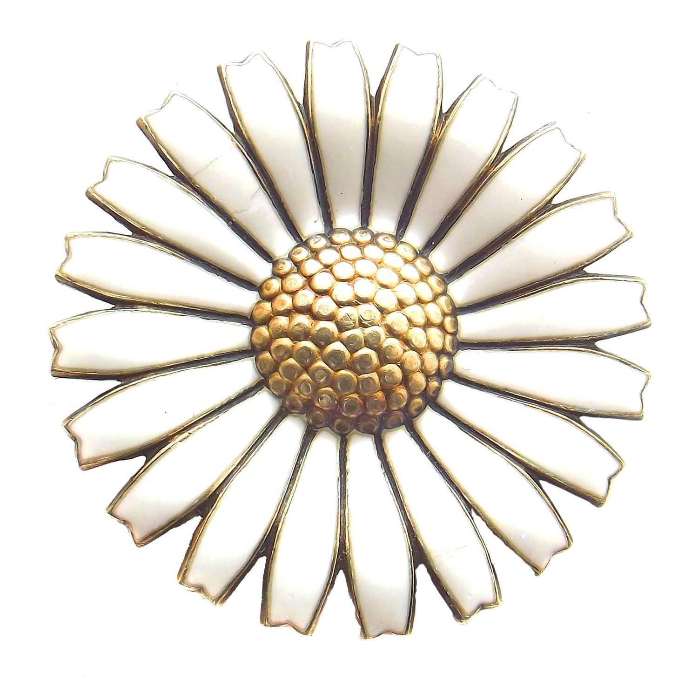 Lot 503 - A silver and enamel daisy brooch by Anton Michelsen