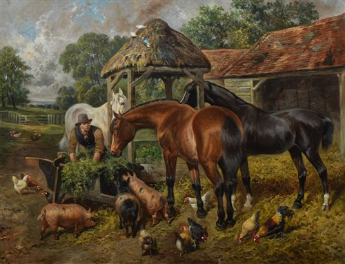 298 - J.F. Herring Jnr., Farmyard scene with figure and horses, pigs and chickens, oil.