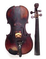 Lot 13-German violin with lion head peg box