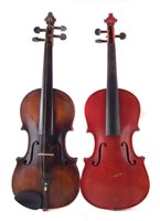 Lot 12-Violin, with one piece back probably German but branded Duke London, also a Stradivari copy violin