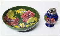 Lot 151-Moorcroft Hibiscus bowl and a table lighter